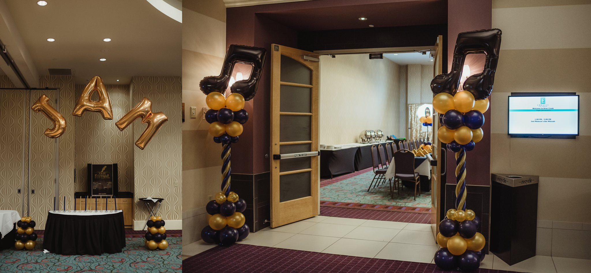 Details of Joel's mitzvah celebration party at Embassy Suites in Raleigh, North Carolina, include ballons with his initials and a music note entryway, images by Rose Trail Images.