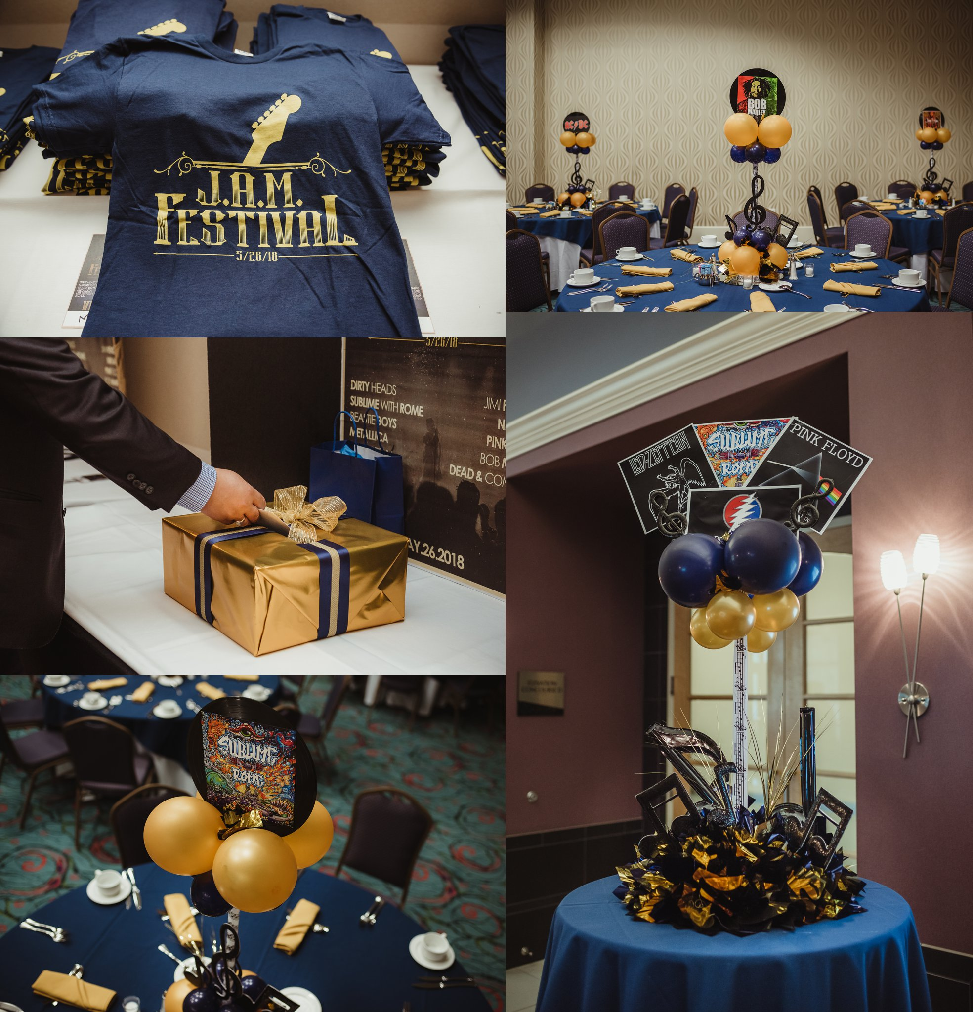 Details of Joel's mitzvah celebration party at Embassy Suites in Raleigh, North Carolina include musical table settings with balloons and homemade t-shirts in a blue and gold color, images by Rose Trail Images.