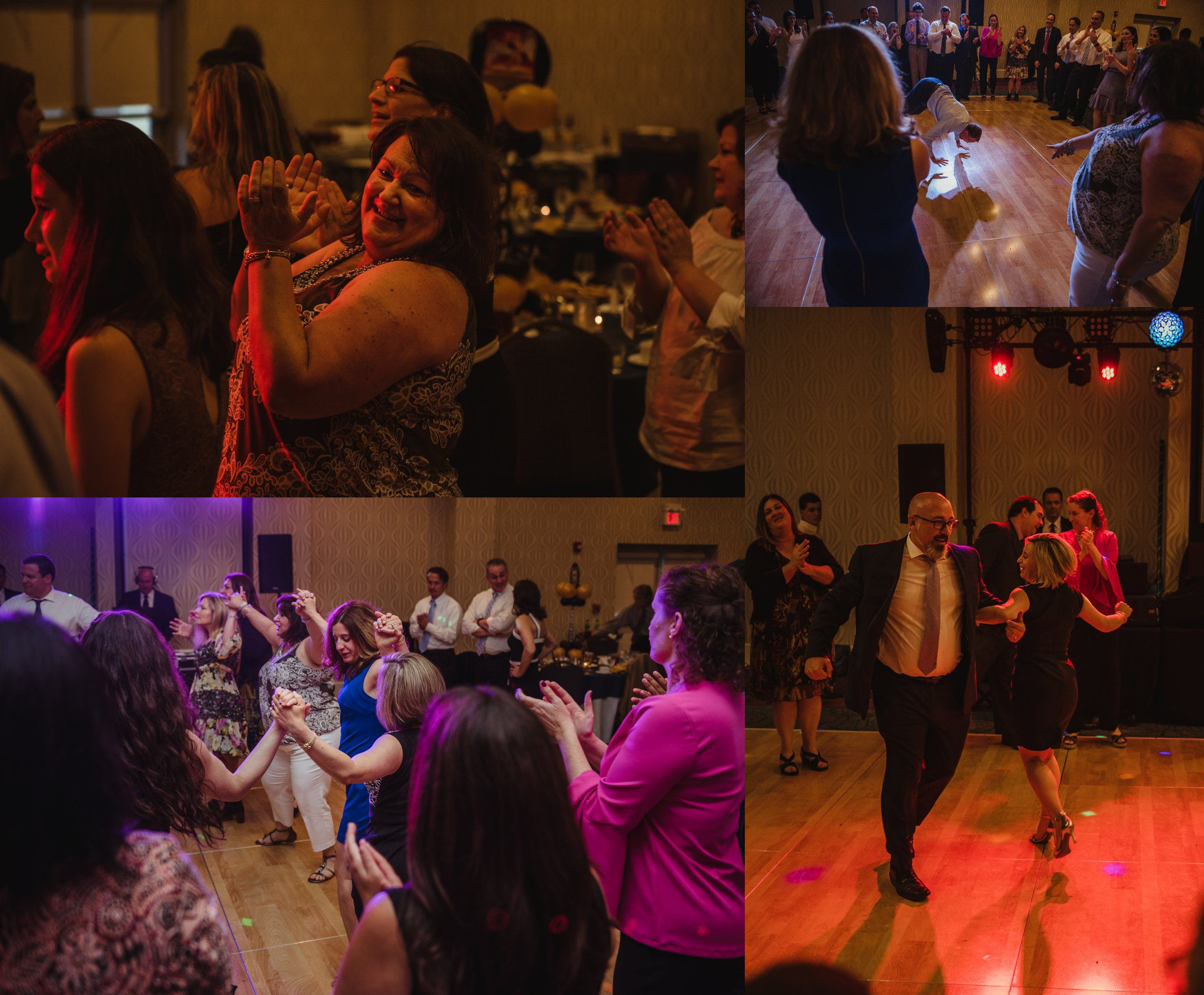 All the family and friends at Joel's mitzvah celebration party danced the Hava Nagila at Embassy Suites in Raleigh, North Carolina, images by Rose Trail Images.