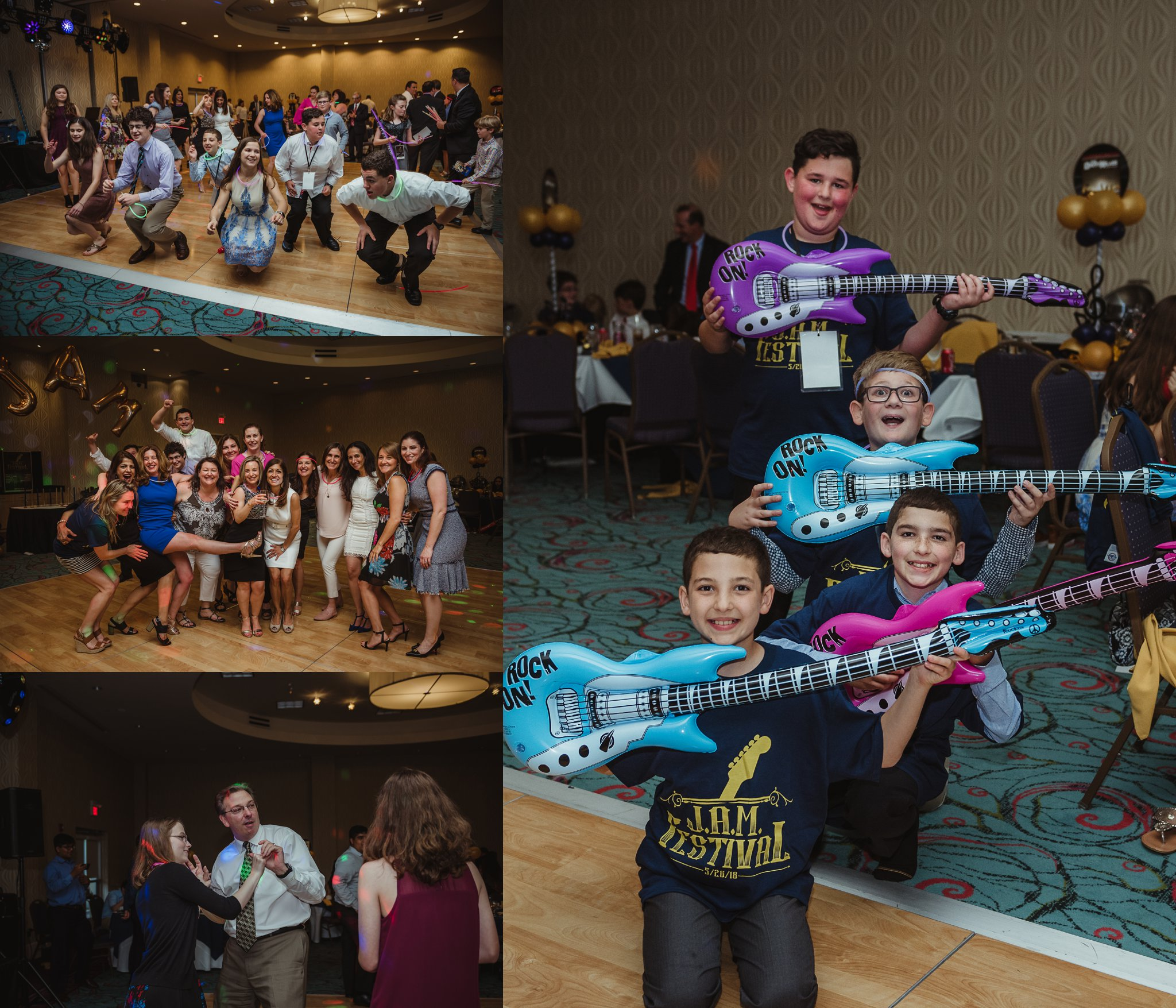 All the guests enjoyed dancing and posing for pictures at Joel's mitzvah celebration party at Embassy Suites in Raleigh, North Carolina, images by Rose Trail Images.