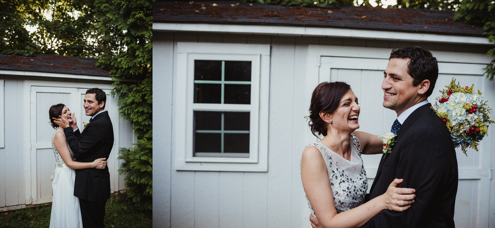 The bride and groom have portraits taken in their backyard in Raleigh right after their wedding ceremony, images by Rose Trail Images.