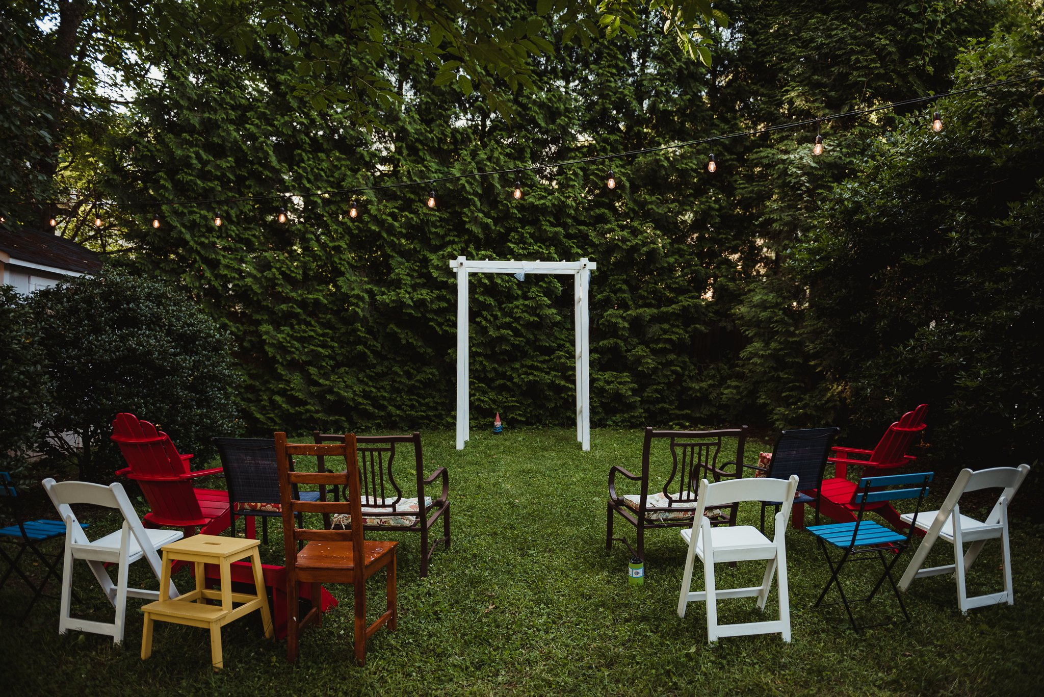 The intimate wedding ceremony took place in their backyard in downtown Raleigh, North Carolina, photo by Rose Trail Images.
