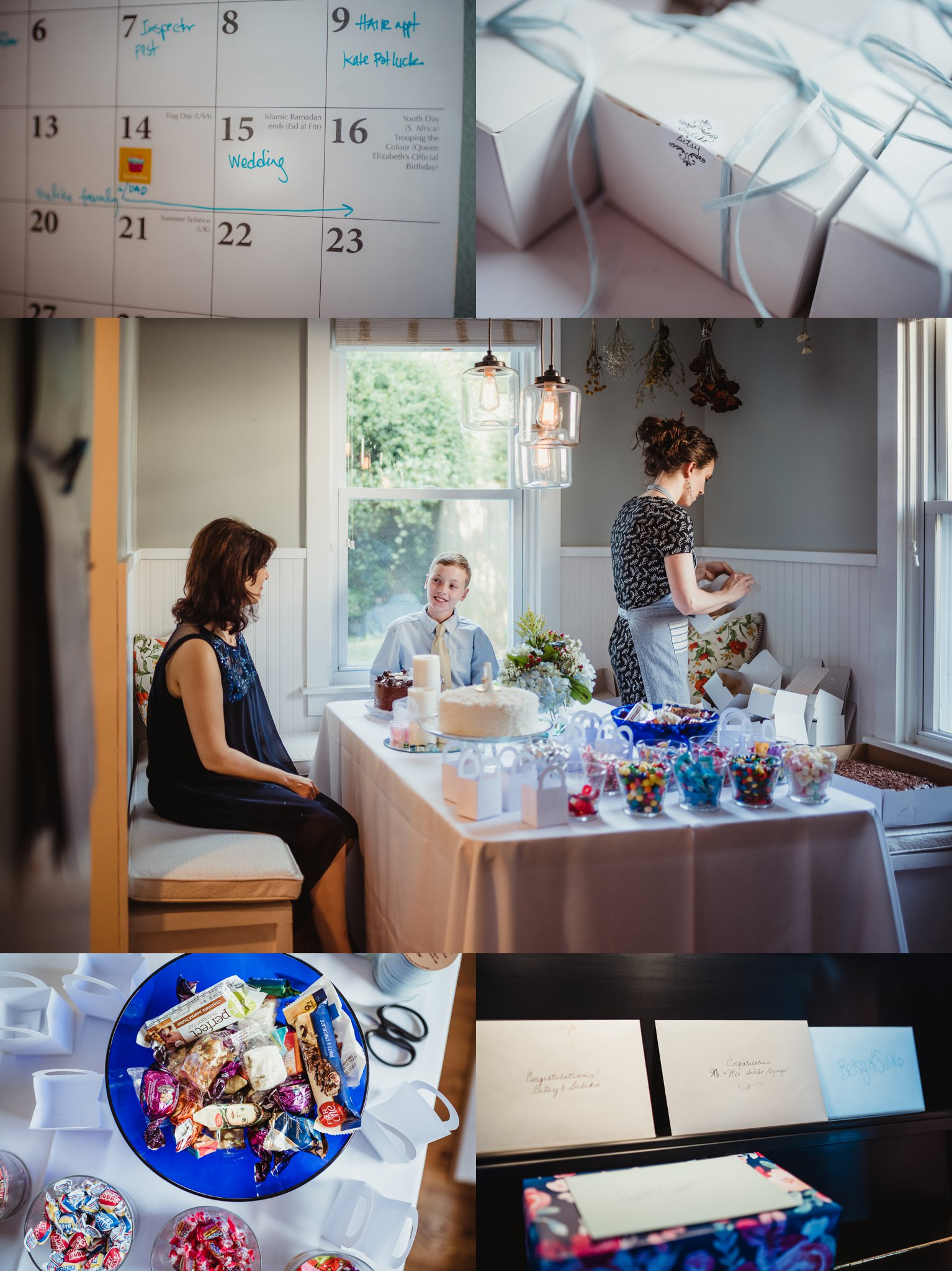 Details of their intimate wedding at home in Raleigh include their calendar, cake boxes with their name, cards on their piano, and ethnic treats from their travels abroad, photos by Rose Trail Images.