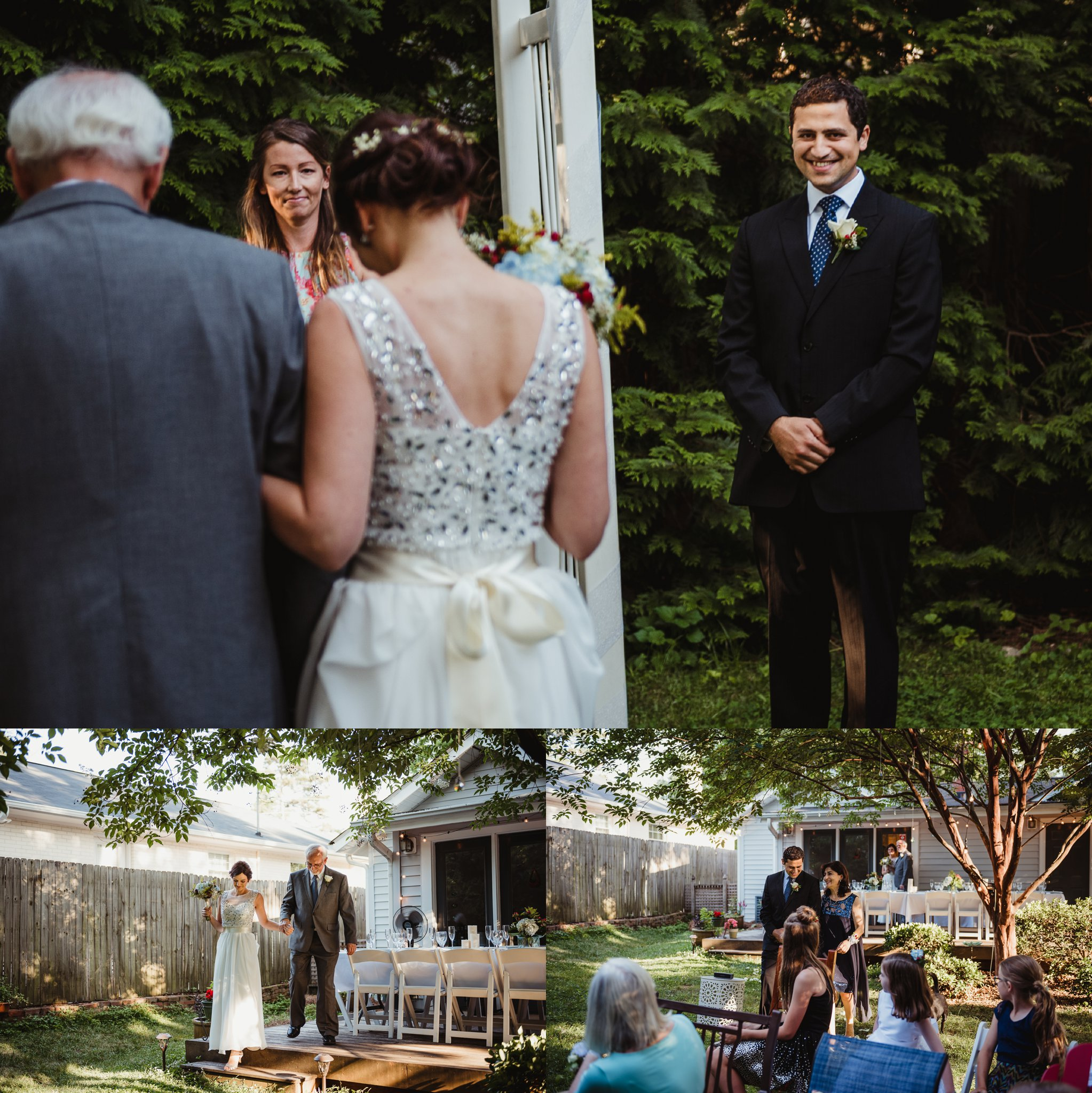 The bride and groom walked down the aisle in their backyard in Raleigh to a ceremony officiated by their friend, pictures by Rose Trail Images.