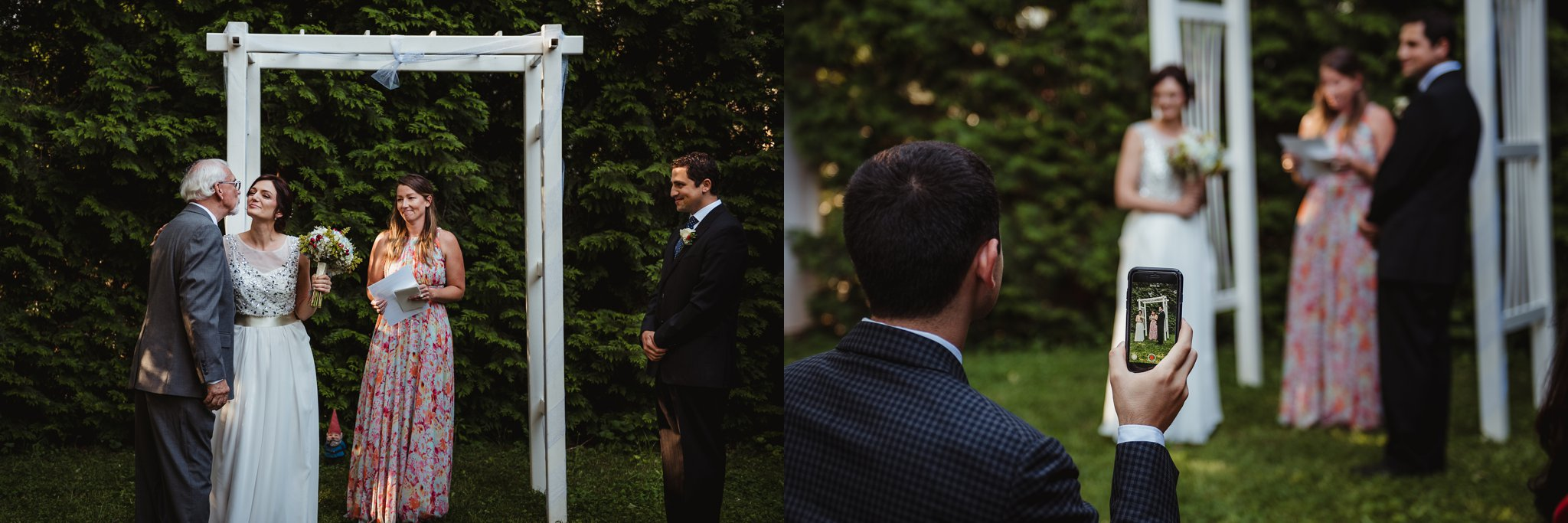 Their intimate wedding ceremony took place in their backyard in downtown Raleigh, North Carolina, photos by Rose Trail Images.