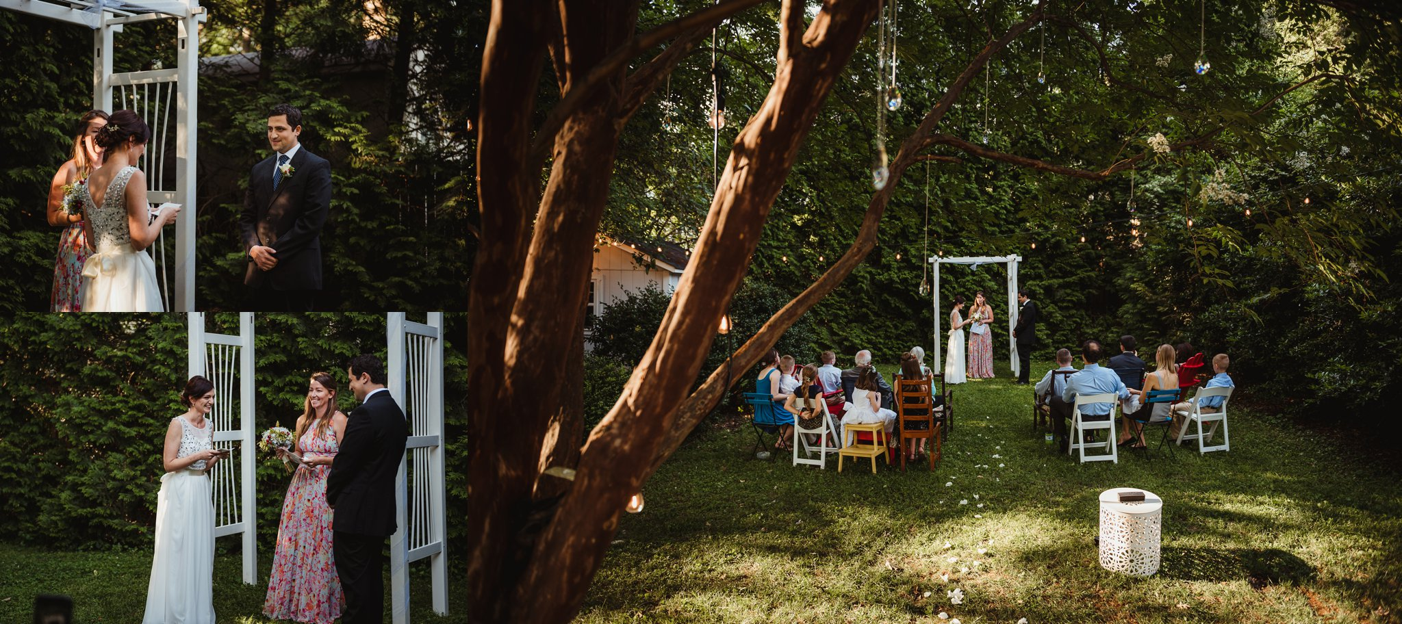 The bride read her vows during their intimate wedding ceremony that took place in their backyard in downtown Raleigh, North Carolina, photo by Rose Trail Images.