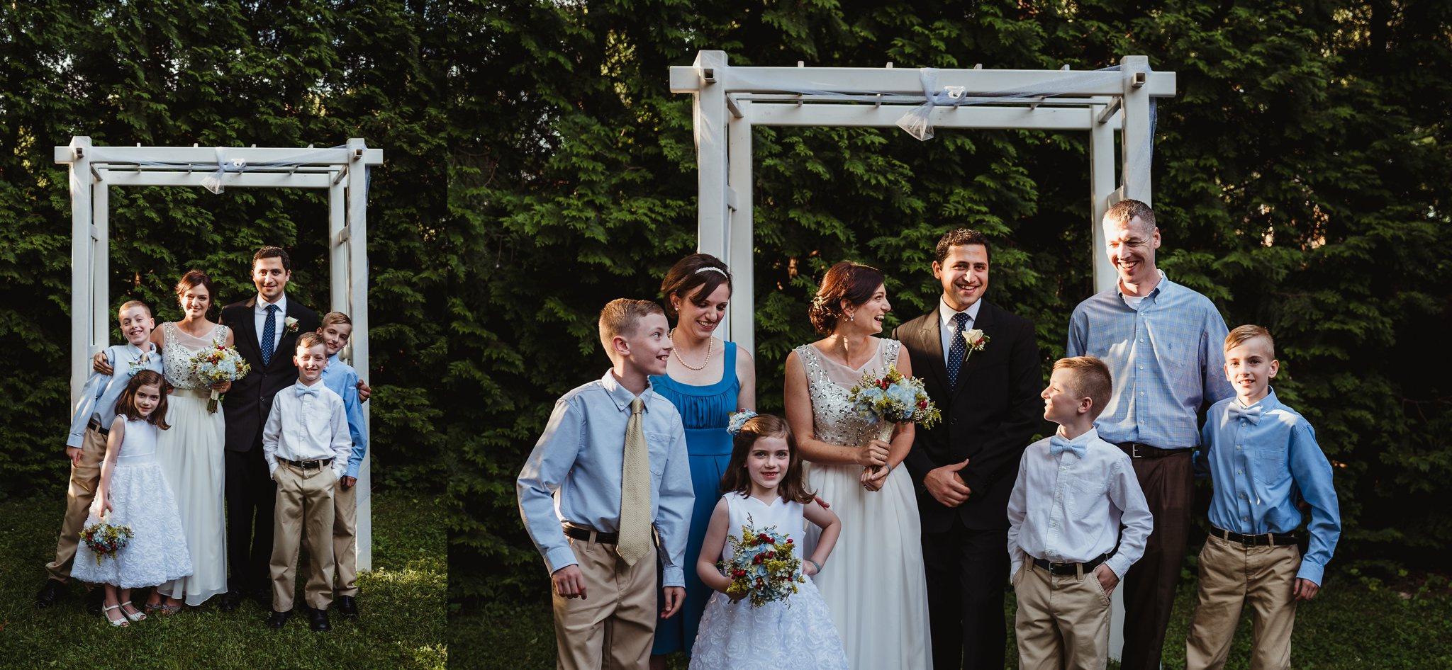 The bride and groom took pictures with her sister after their intimate wedding ceremony that took place in their backyard in downtown Raleigh, North Carolina, photo by Rose Trail Images.