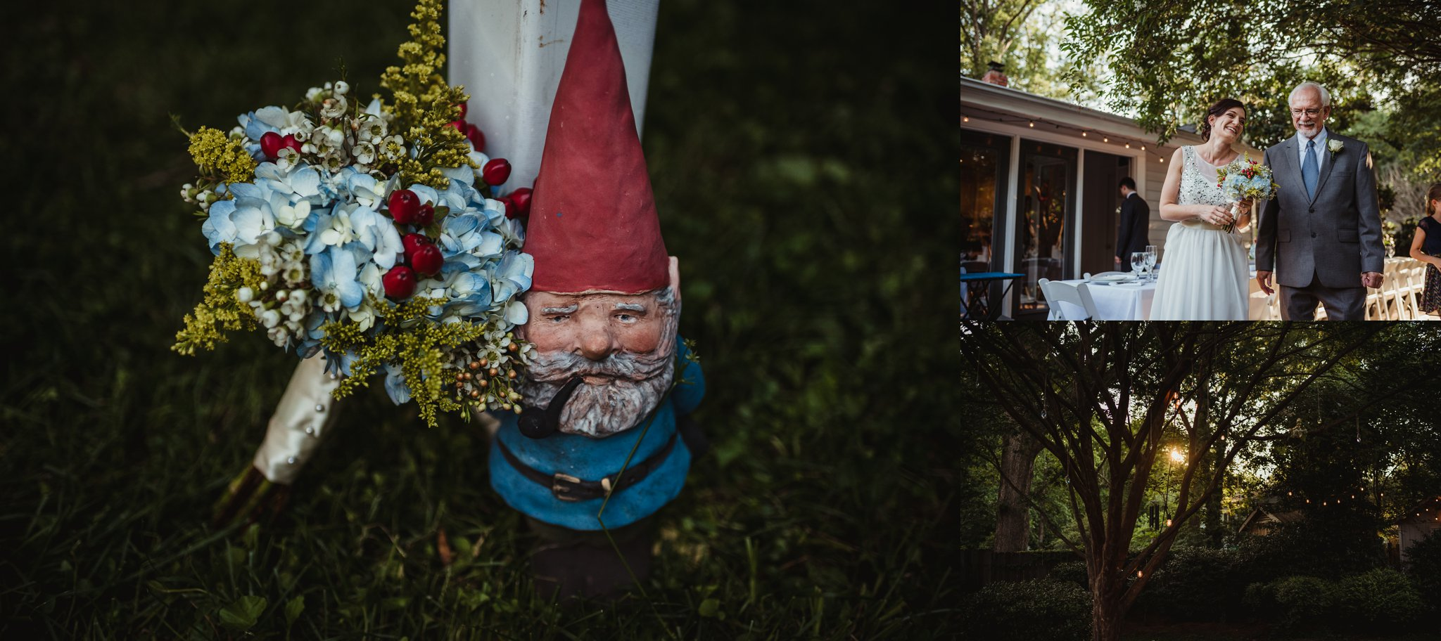 Their intimate wedding reception in their backyard in Raleigh at sunset included flowers with their garden gnome, photos by Rose Trail Images.