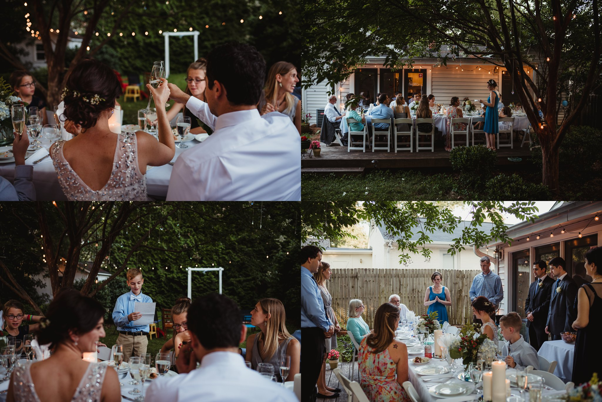Their intimate wedding reception in their backyard in Raleigh included al fresco dining on the porch under the market lights, photos by Rose Trail Images.