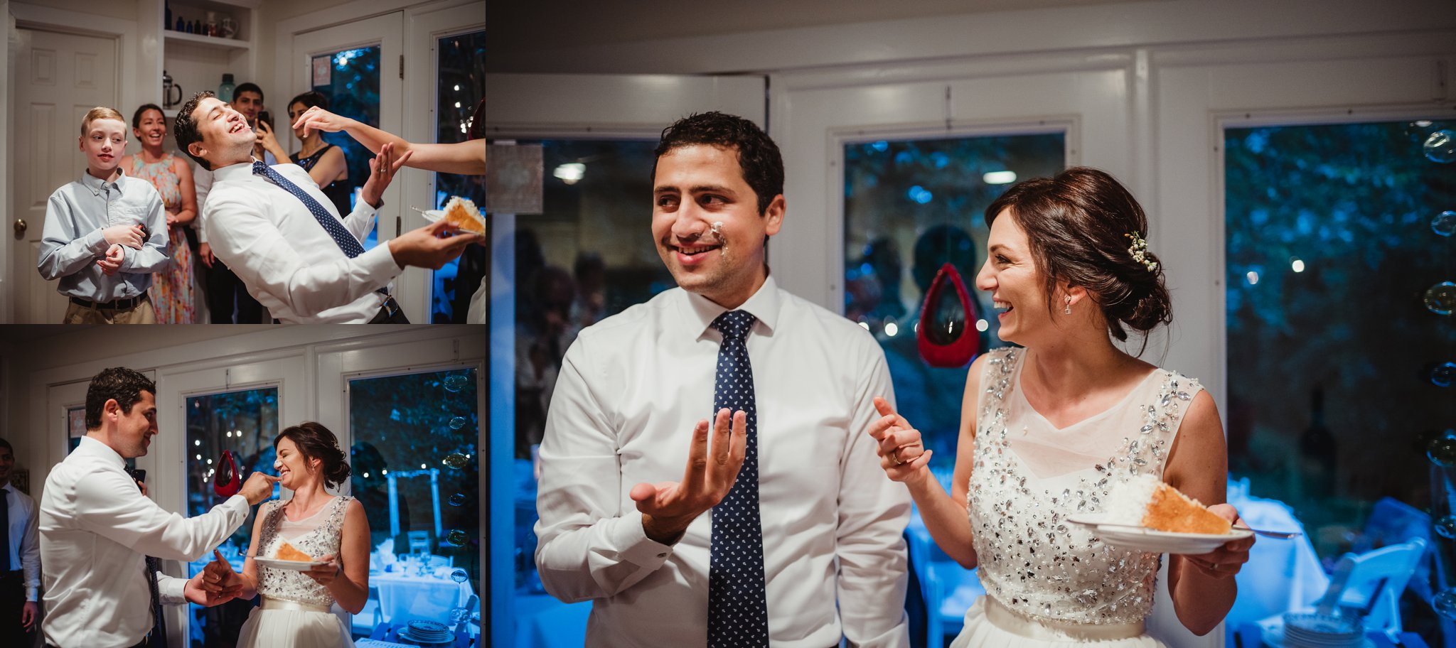 The bride and groom smush their coconut cake on each other's faces inside their home during their intimate wedding at their home in Raleigh, North Carolina, pictures by Rose Trail Images.