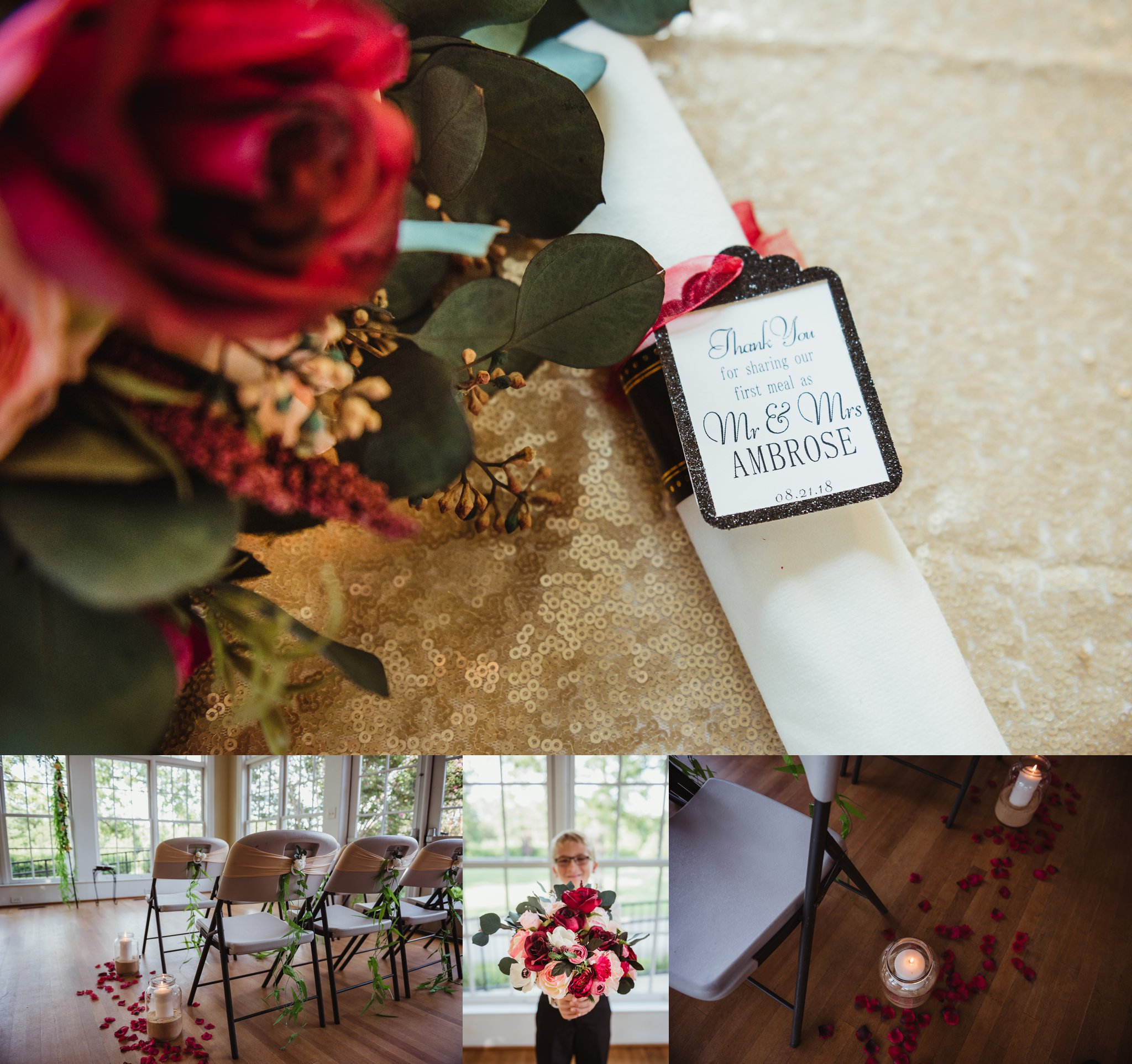Wedding details include DIY flowers, candles, and a cute best man at the intimate wedding in Raleigh, photos by Rose Trail Images.