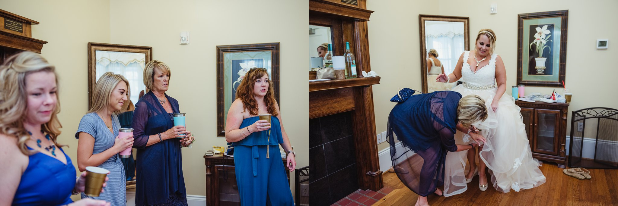 The bride had lots of help getting ready at her intimate wedding in Raleigh, photos by Rose Trail Images.