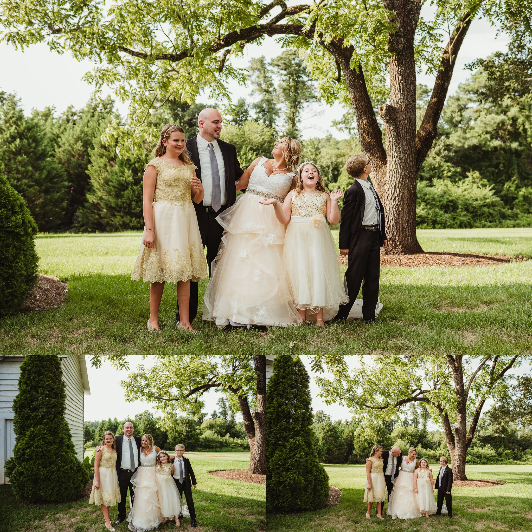 The bride and groom had their family pictures taken before their wedding ceremony in Raleigh, photos by Rose Trail Images.