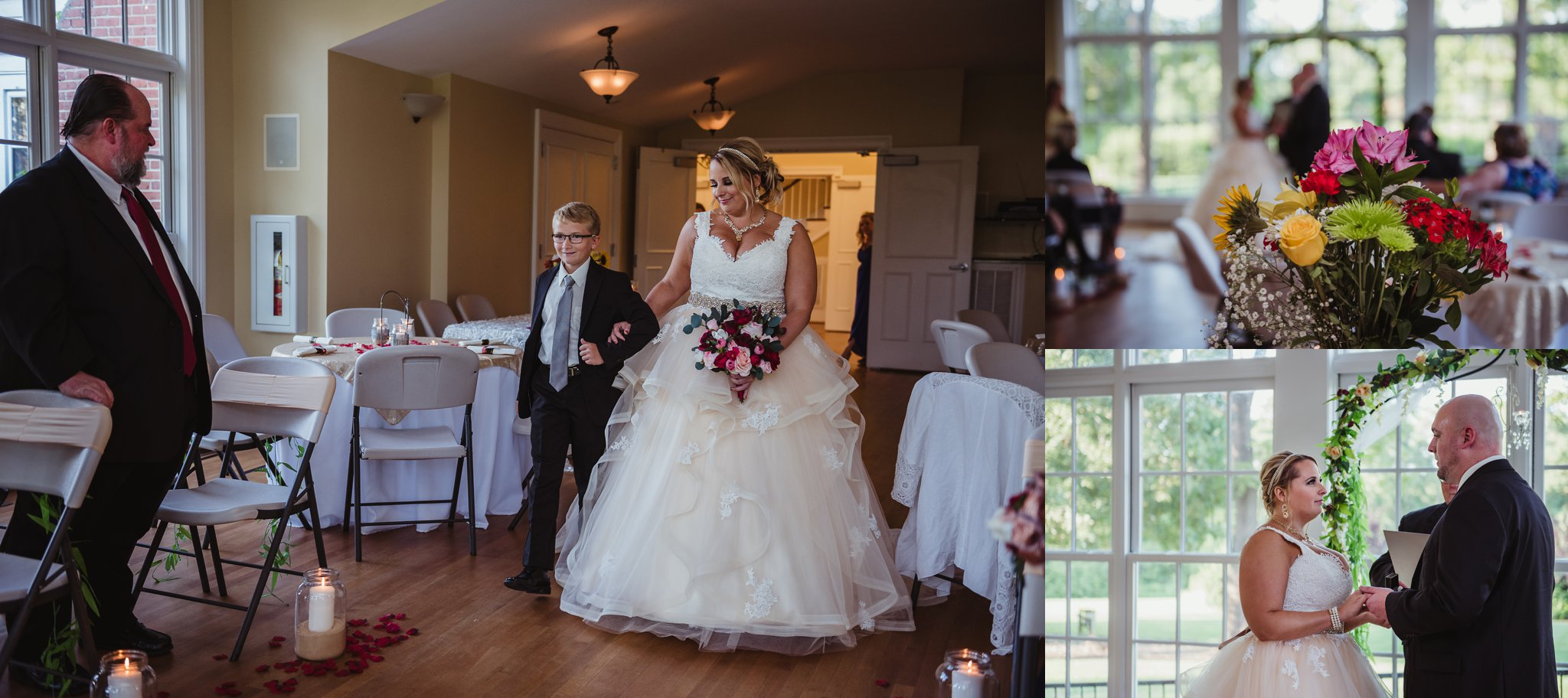 The bride had her son walk her down the aisle at her wedding at the Rand-Bryan House in Raleigh, photos by Rose Trail Images.