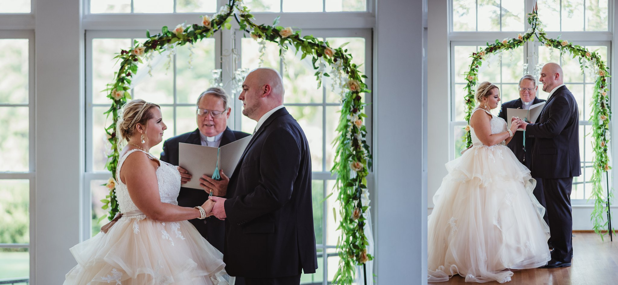 The bride and groom exchange vows and rings at their wedding at the Rand-Bryan House in Raleigh, photos by Rose Trail Images.