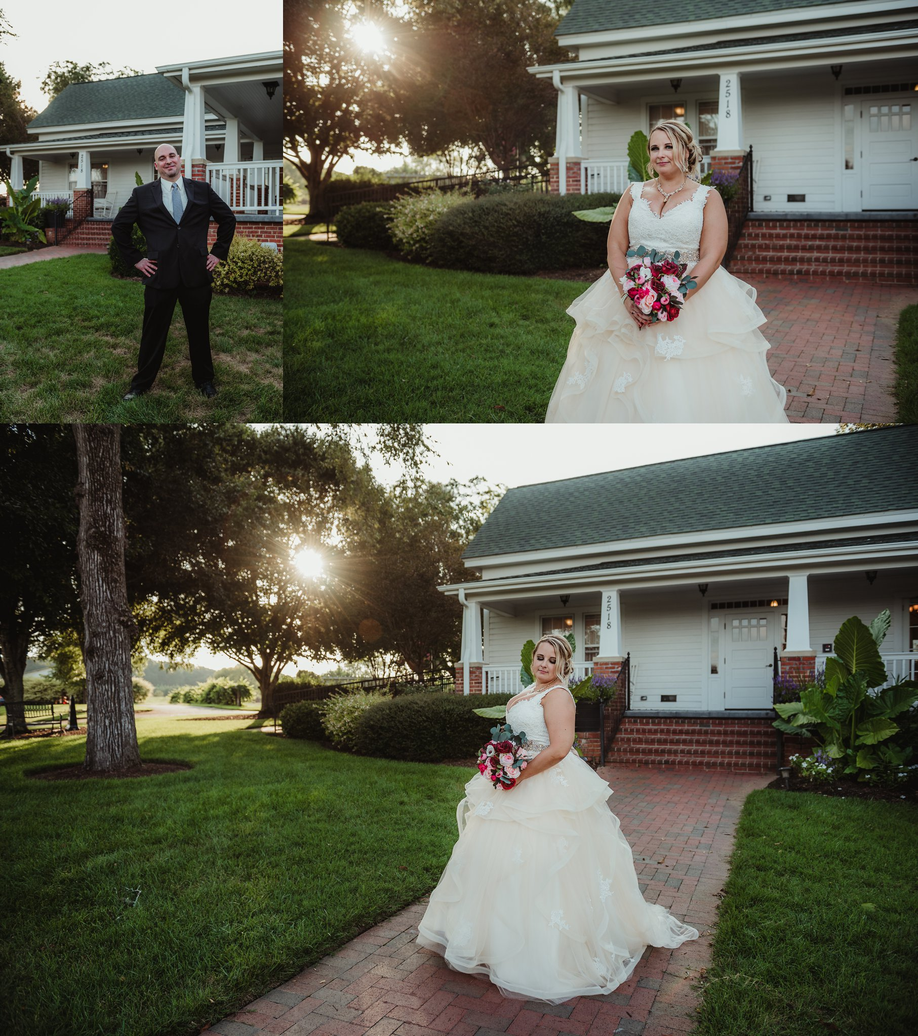 The bride and groom pose for individual portraits at the Rand-Bryan House in Raleigh, photos by Rose Trail Images.