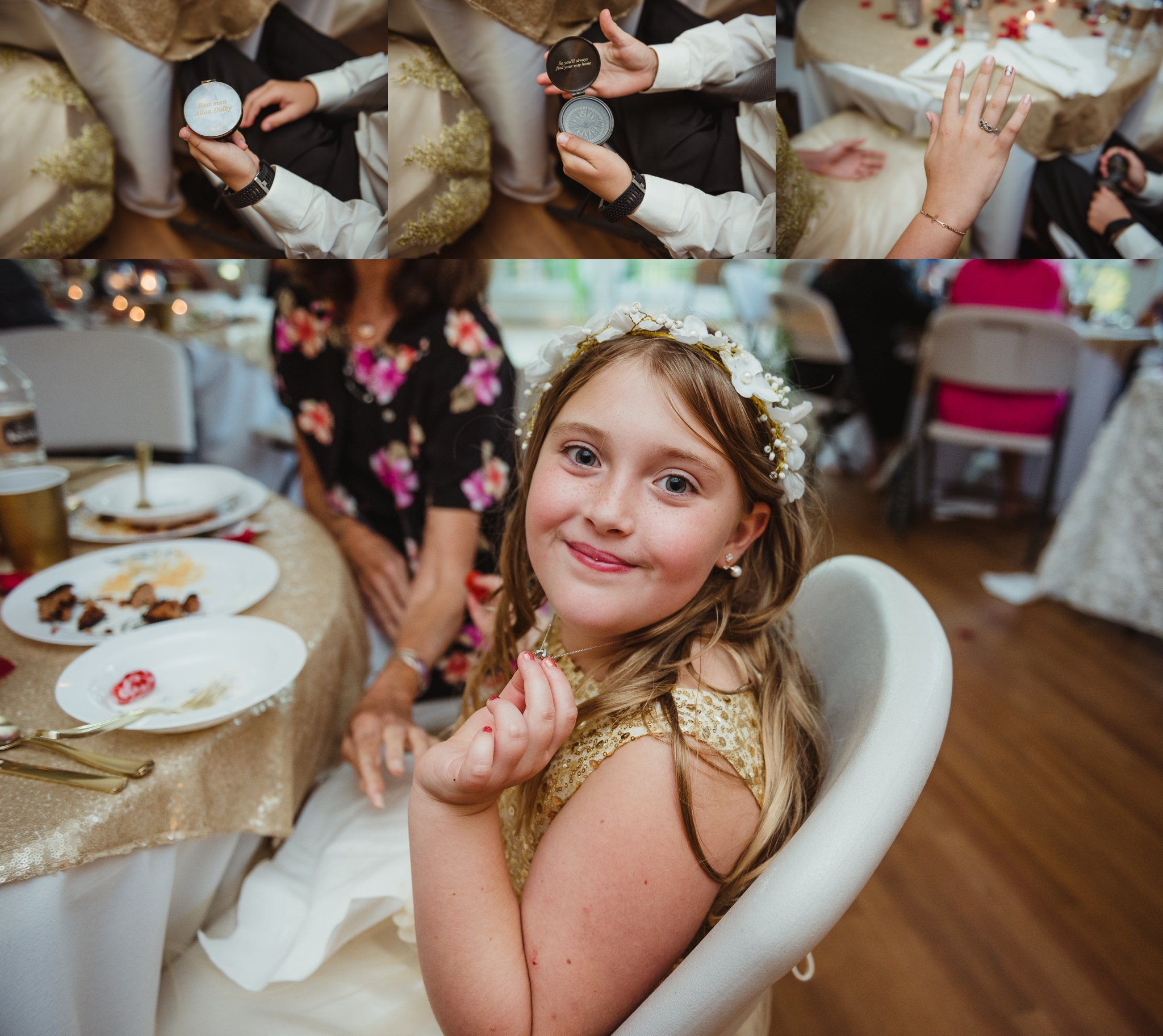 The three kids showed off their gifts they received during the wedding ceremony in Raleigh, photos by Rose Trail Images.