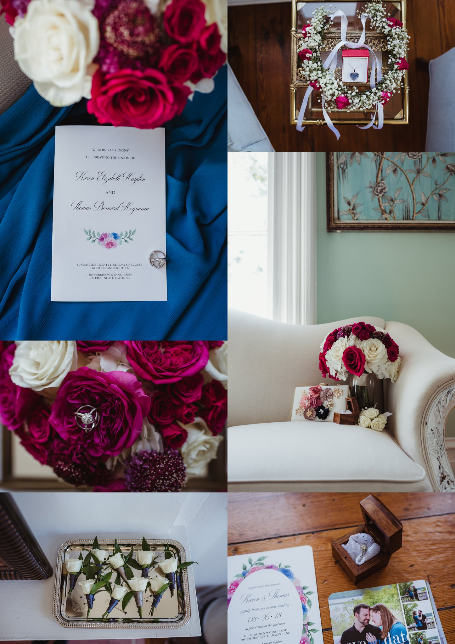 Wedding details at the Merrimon Wynne in Raleigh include pink and white roses, blue bridesmaids dresses, and watercolor invitations, photos by Rose Trail Images.