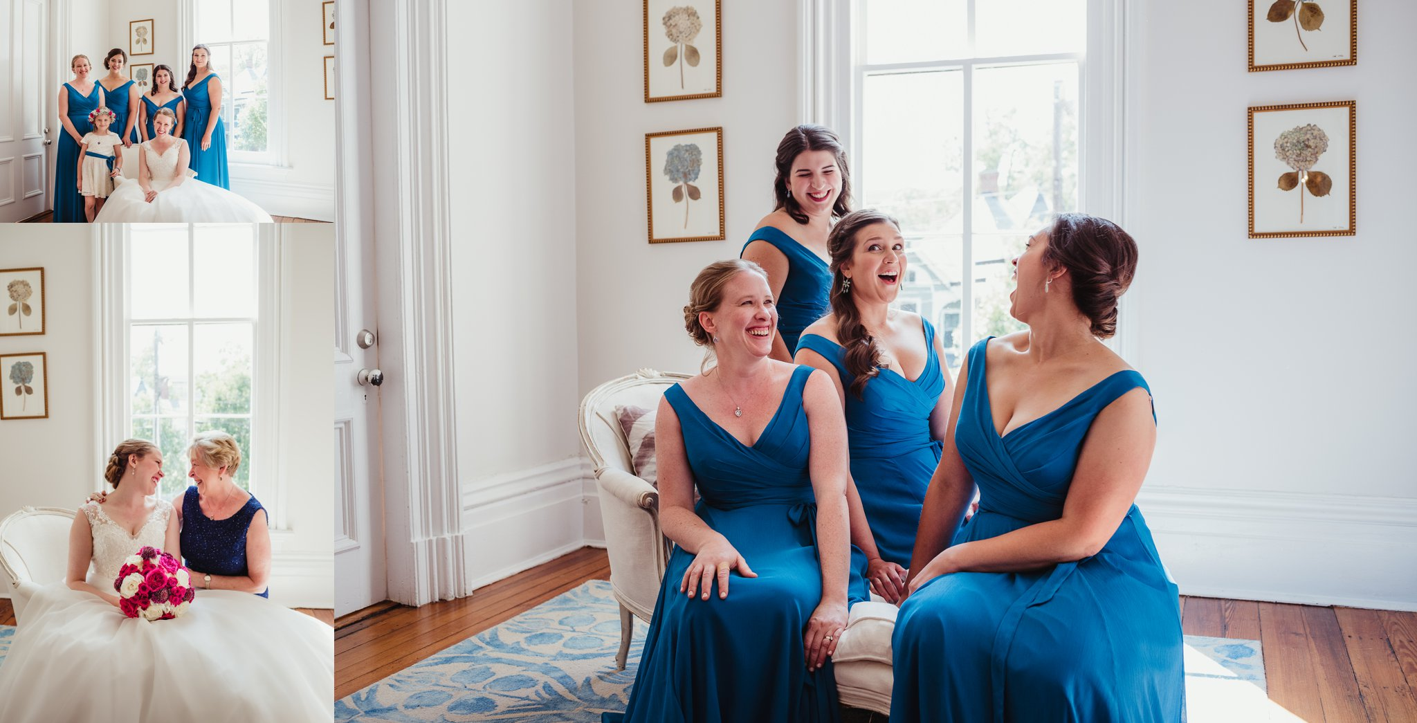 The bride posing with her bridesmaids and her Mom before her wedding at the Merrimon Wynne in Raleigh, photos by Rose Trail Images.