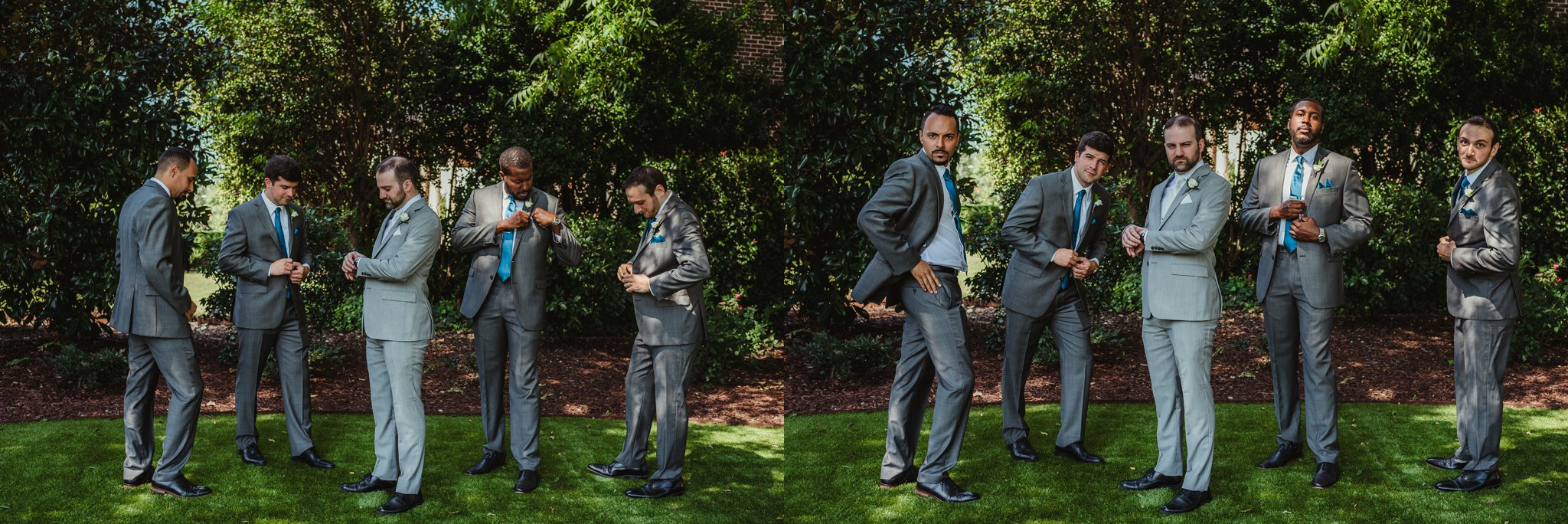 """The groom and his groomsmen playing """"Anchorman"""" before the wedding at the Merrimon Wynne in Raleigh, photos by Rose Trail Images."""