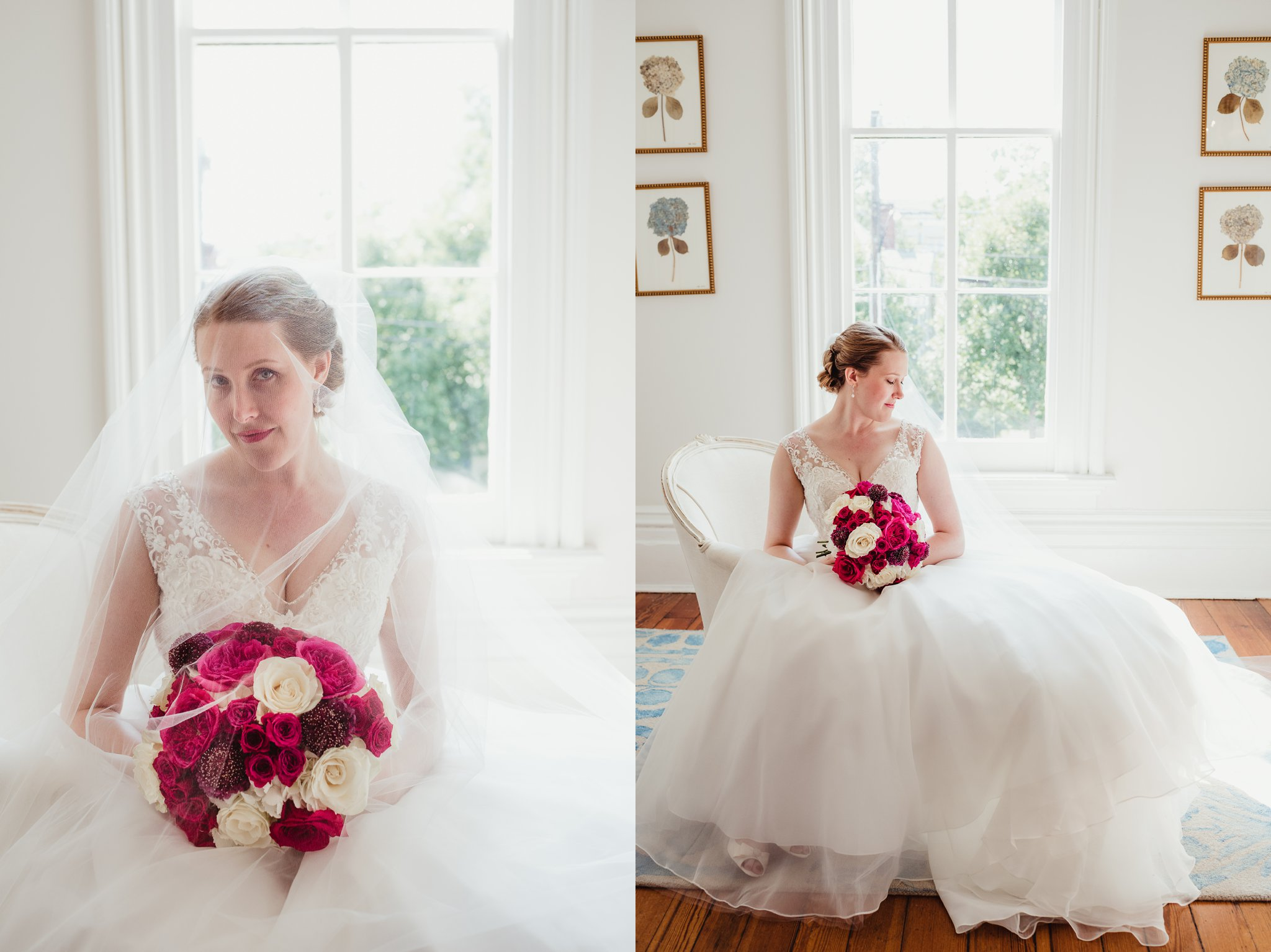 The bride sitting for portraits before her wedding ceremony at the Merrimon Wynne in Raleigh, photos by Rose Trail Images.