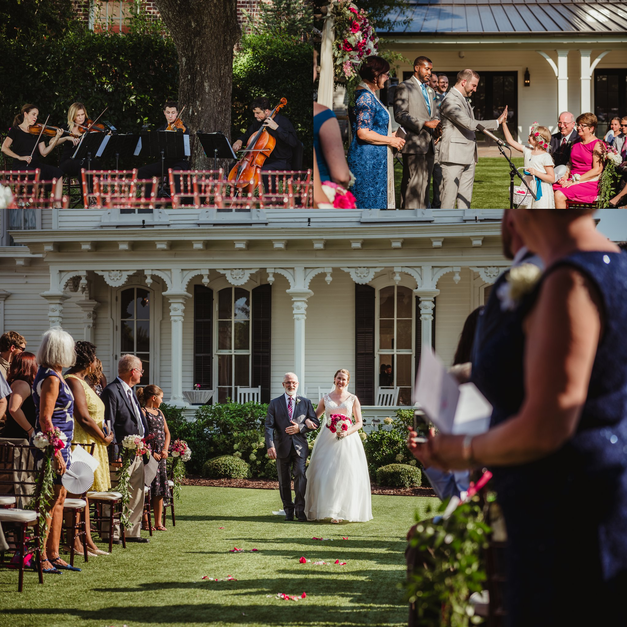 The bride and groom get ready for their wedding ceremony to start at the Merrimon Wynne in Raleigh, photos by Rose Trail Images.