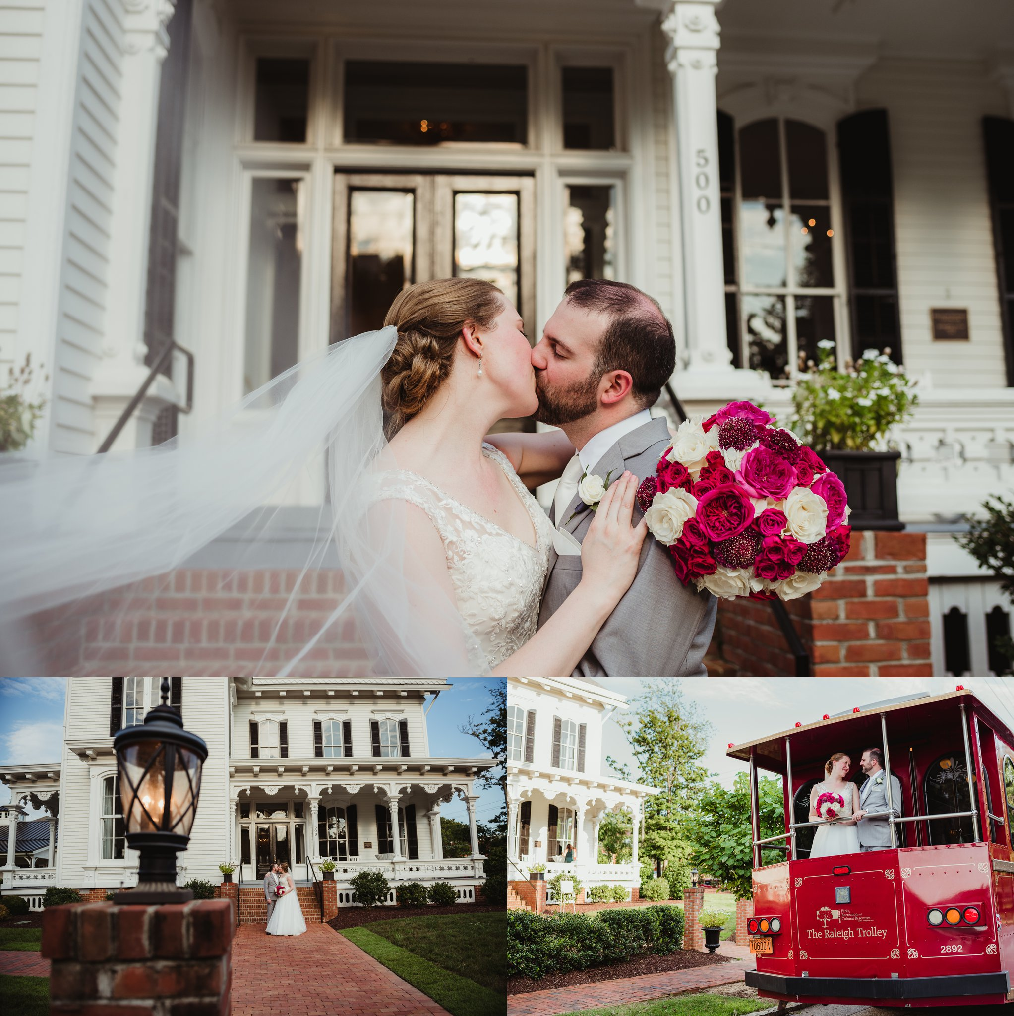 The bride and groom pose for portraits after their wedding ceremony at the Merrimon Wynne in Raleigh, photos by Rose Trail Images.
