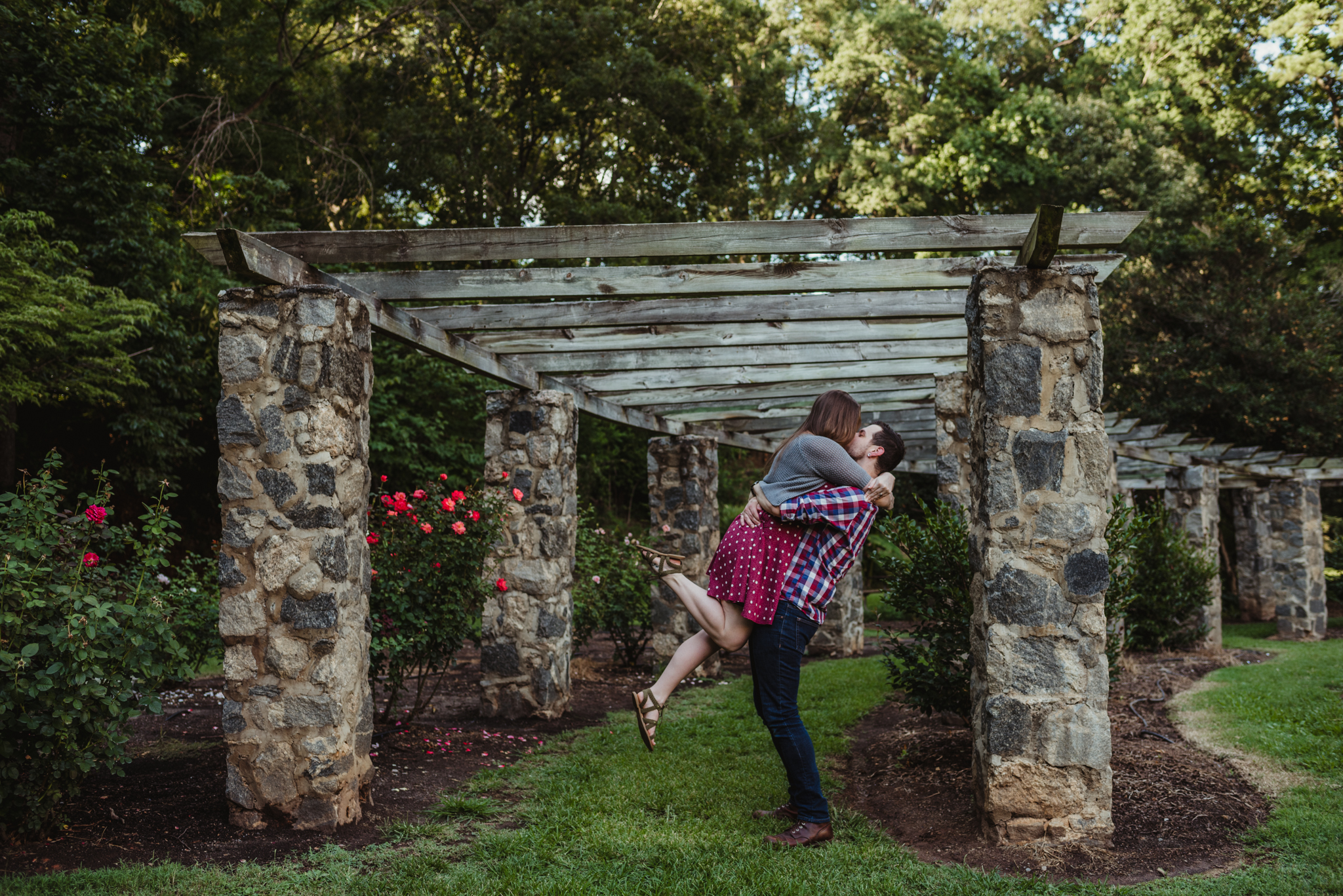 The groom picks up his bride to be under the trellis while at the Raleigh Rose Garden during their engagement session with Rose Trail Images.
