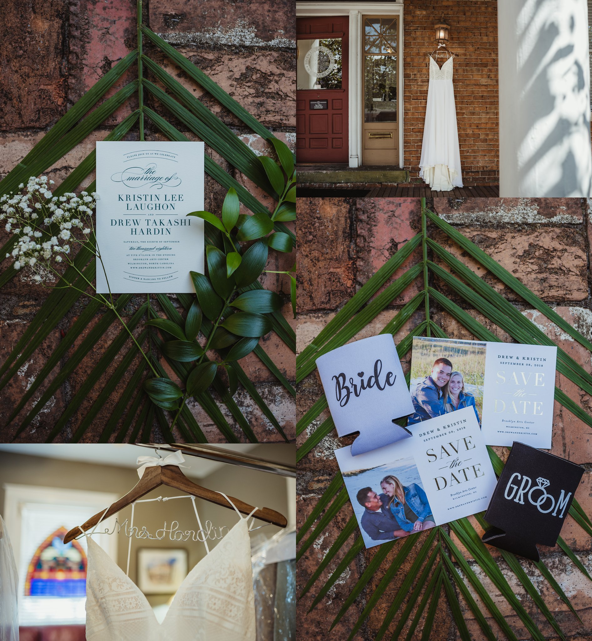 Wedding details contain a dress shot, a personalized hanger, and invitations on a palm frond and brick sidewalk in Wilmington, NC, images by Rose Trail Images.