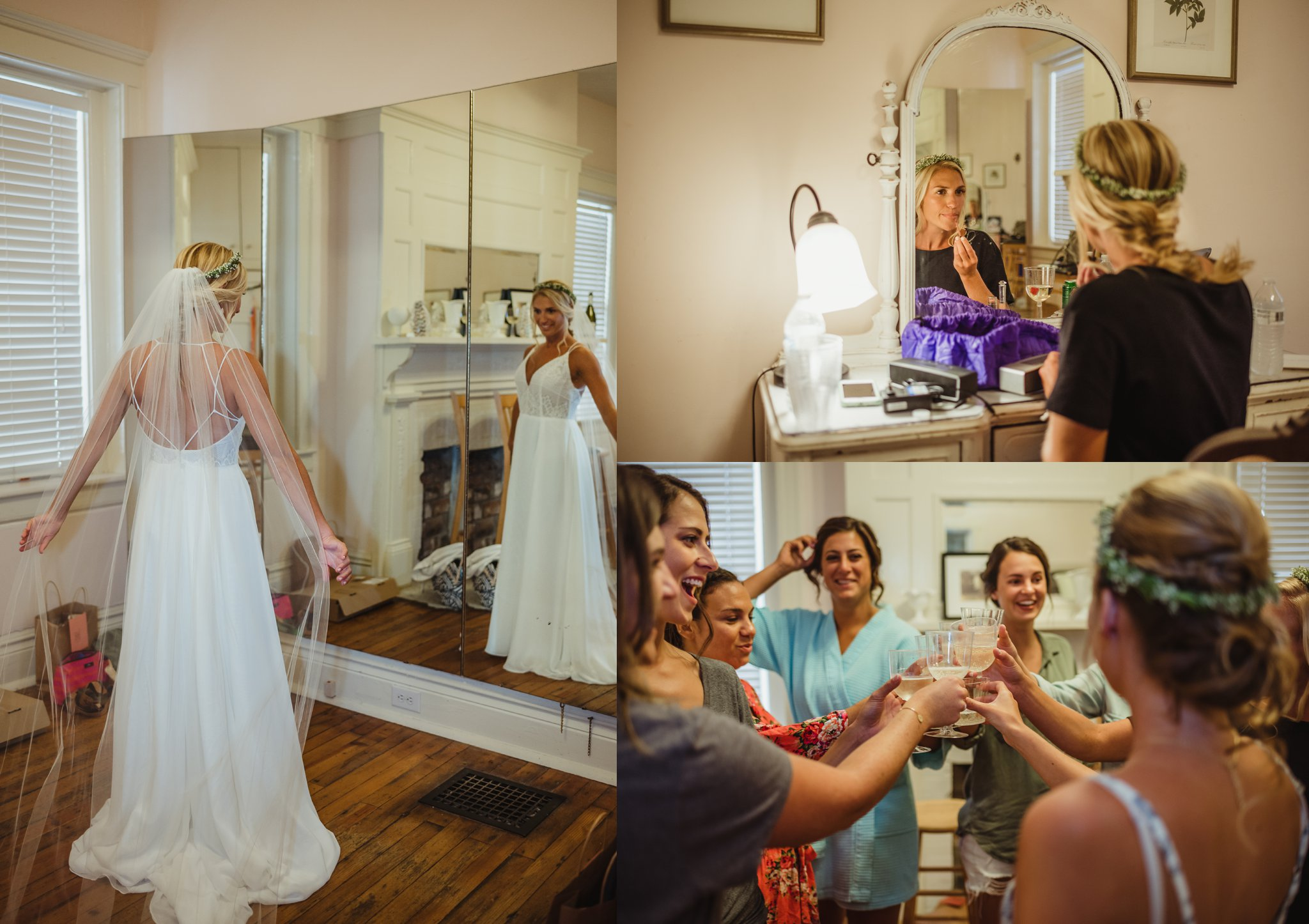 The bride gets ready with her bridesmaids before her wedding in Wilmington, NC, photos by Rose Trail Images.