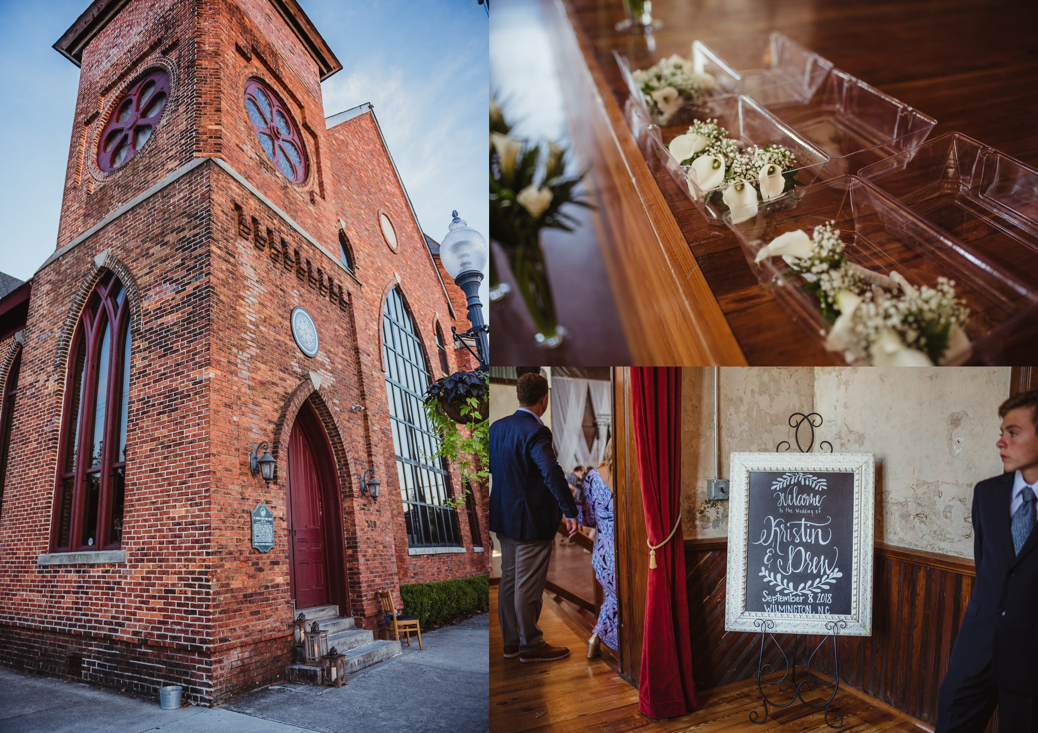 Wedding details at the Brooklyn Arts Center in Wilmington, North Carolina, photos by Rose Trail Images.