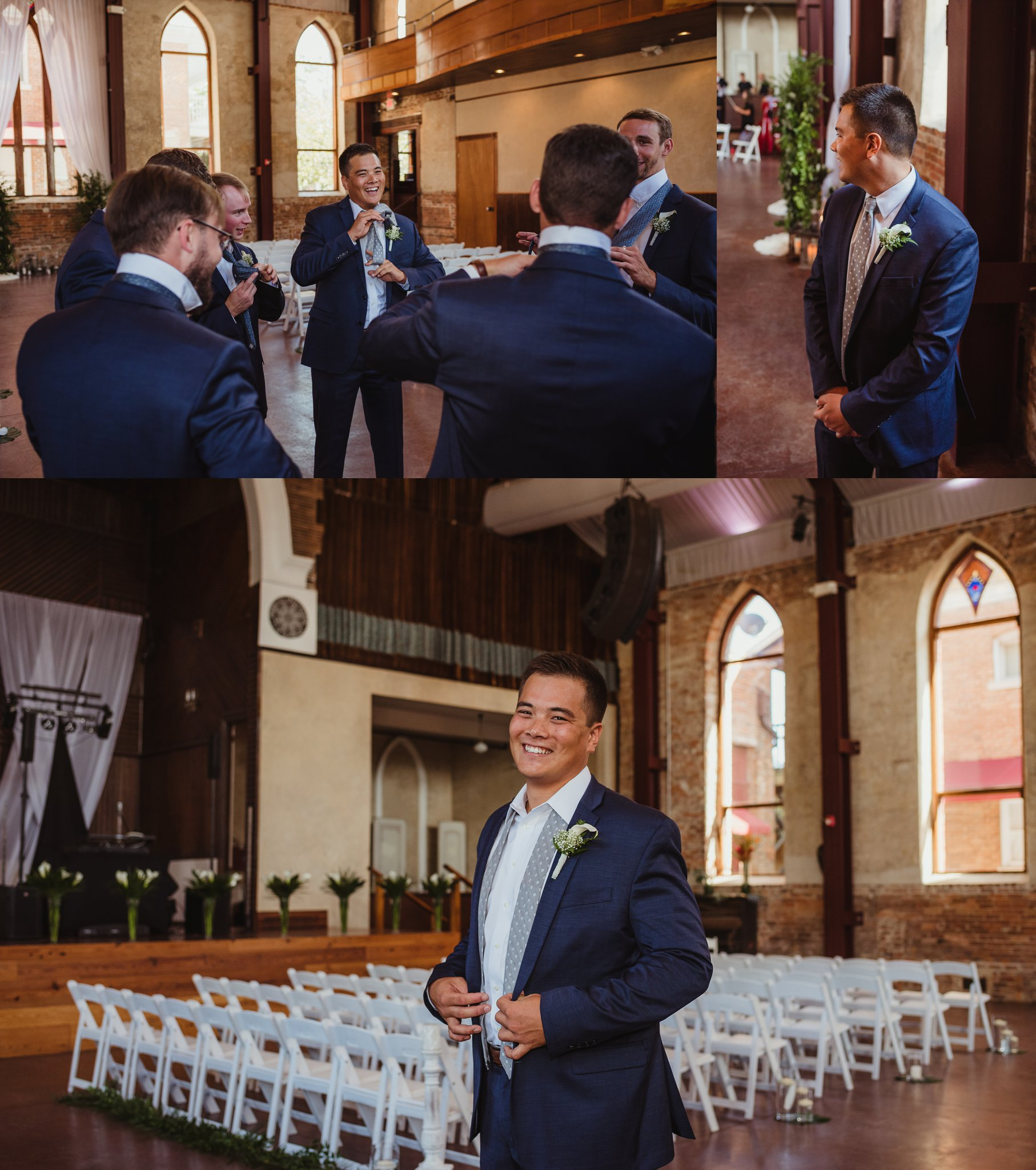The groom gets ready with his groomsmen before his wedding in Wilmington, NC, photos by Rose Trail Images.