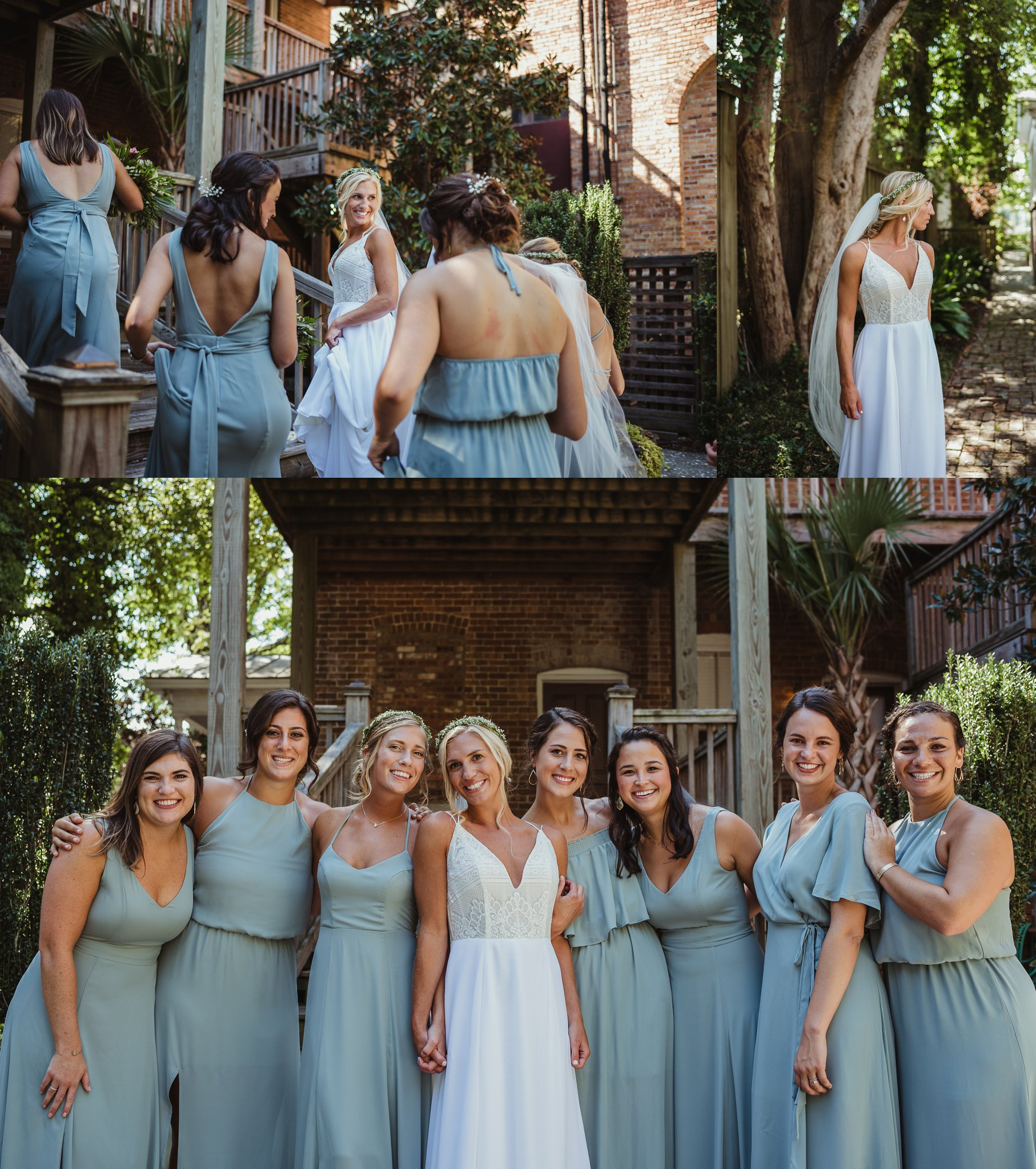 The bride poses outside with her bridesmaids before her wedding in Wilmington, NC, photos by Rose Trail Images.