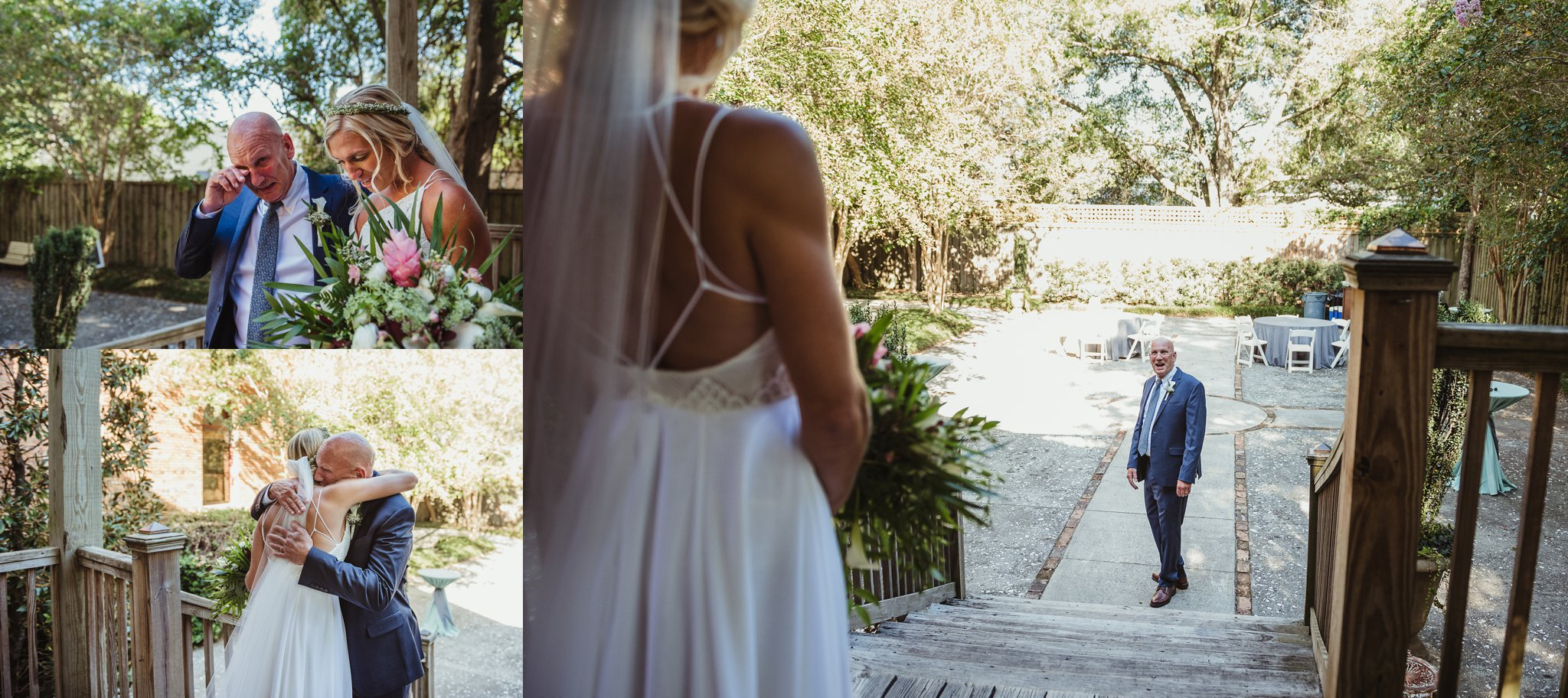 The bride has a first look with her father before her wedding in Wilmington, NC, photos by Rose Trail Images.