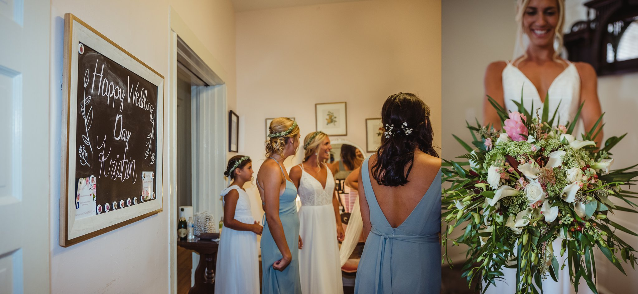 The bride gets ready with her bridesmaids right before her wedding ceremony in Wilmington, NC, photos by Rose Trail Images.