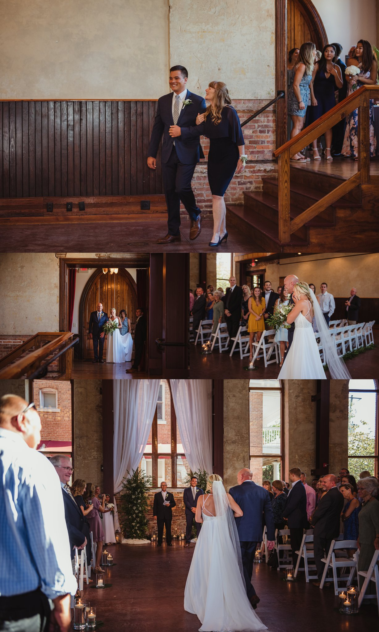 The bride and groom walk down the aisle at their wedding at the Brooklyn Arts Center in Wilmington, NC, photos by Rose Trail Images.