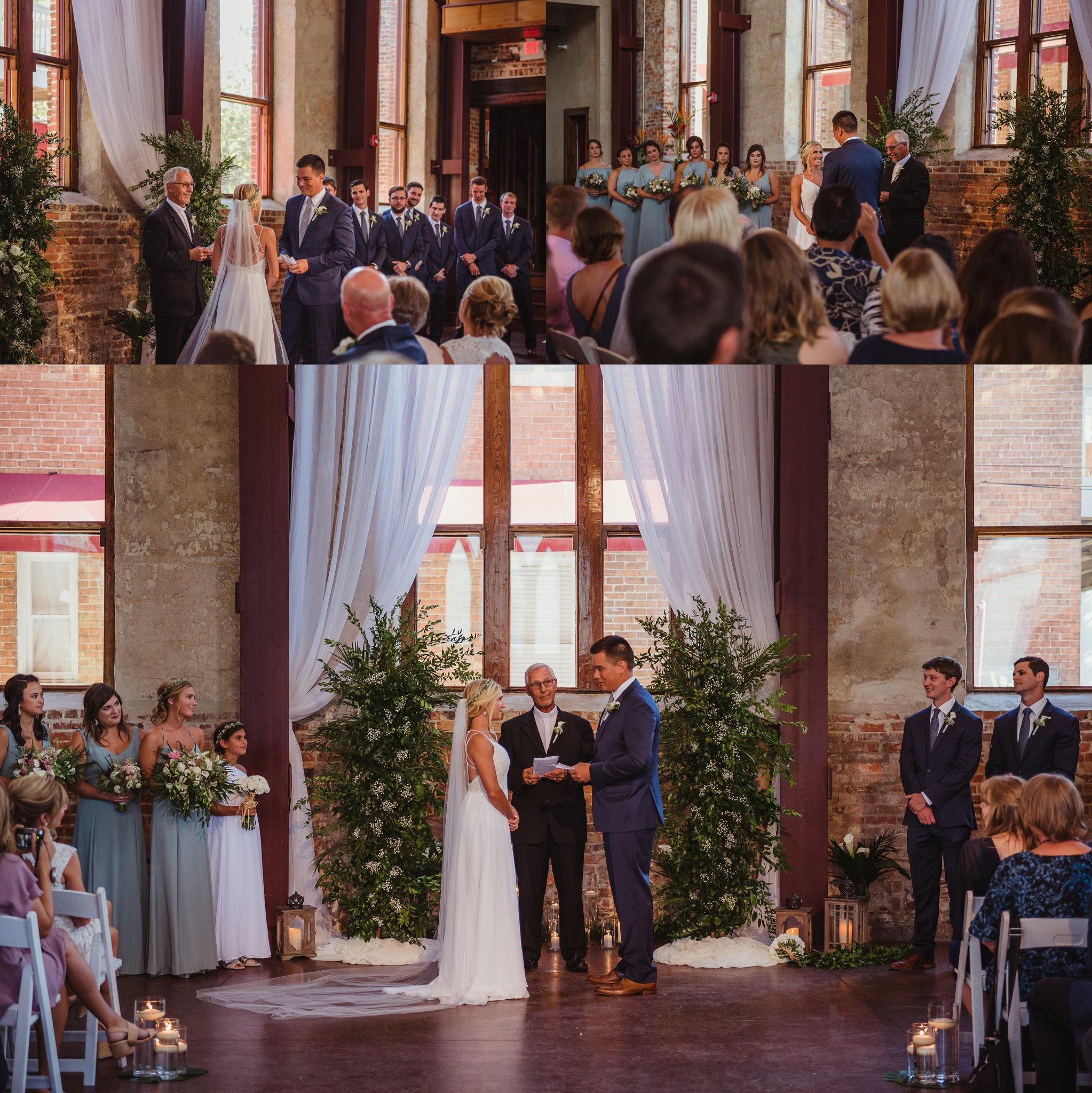 The bride and groom look at each other during their wedding ceremony at the Brooklyn Arts Center in Wilmington, NC, photos by Rose Trail Images.