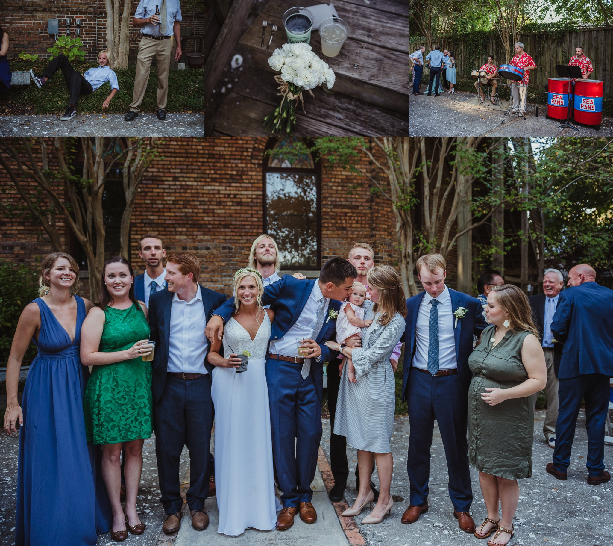 The bride and groom hang with guests and a steel drum band at their cocktail hour after their wedding ceremony in Wilmington, NC, photos by Rose Trail Images.