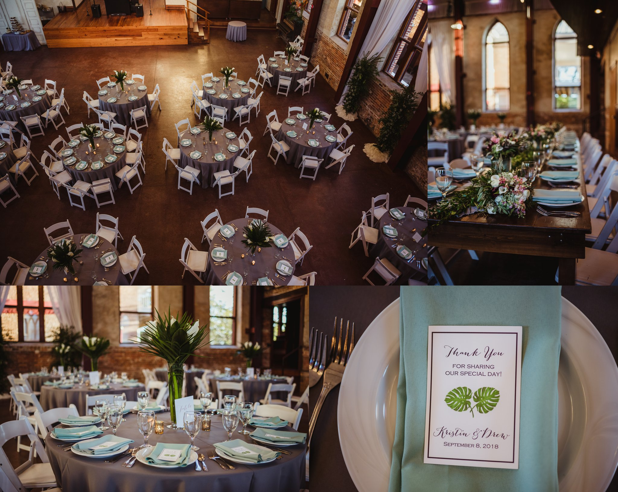 Details of the reception include seagreen napkins, white calla lilies, and palm fronds at the wedding reception in Wilmington, NC, photos by Rose Trail Images.