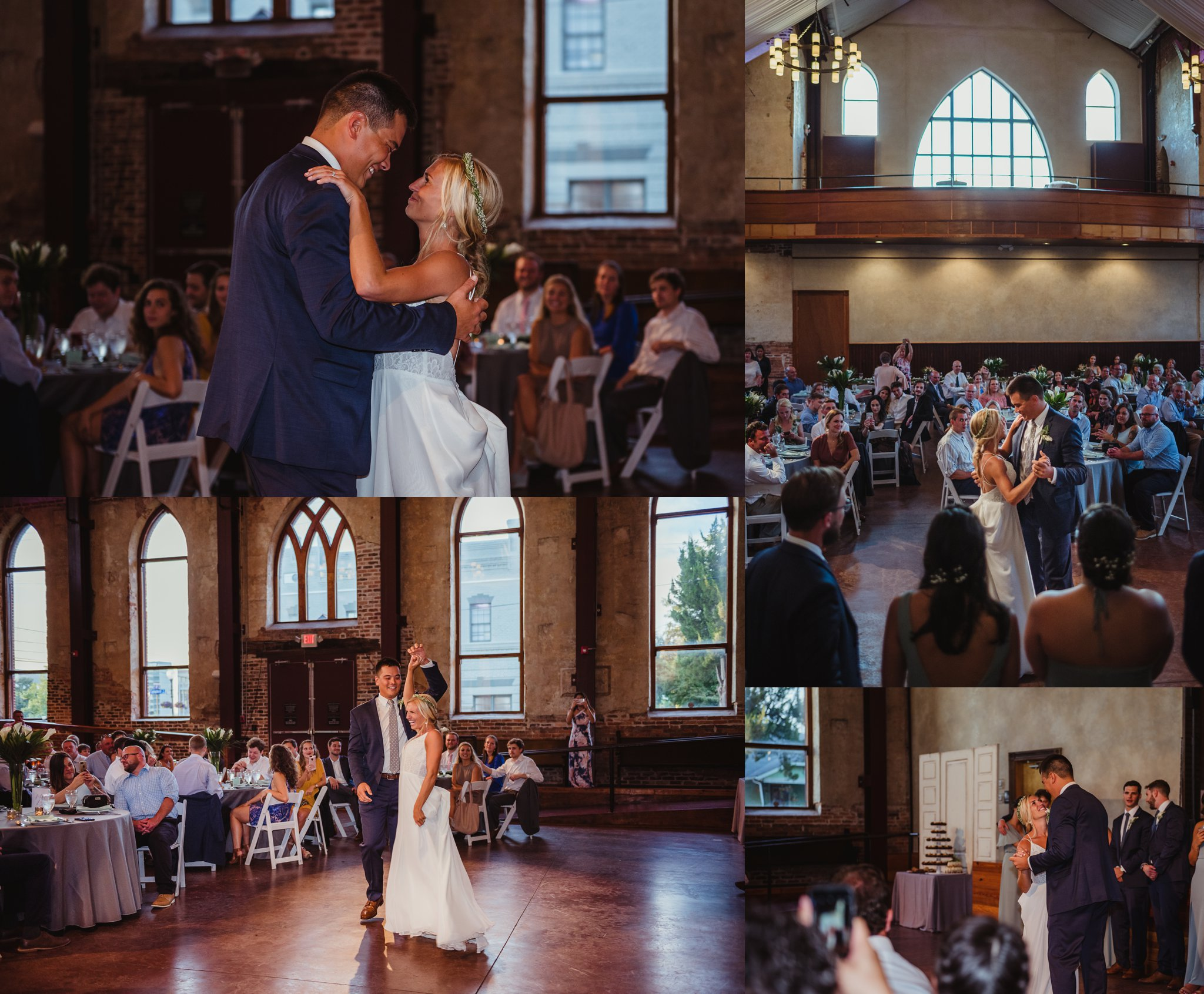The bride and groom share a first dance and some laughs at their wedding reception in Wilmington, NC, photos by Rose Trail Images.