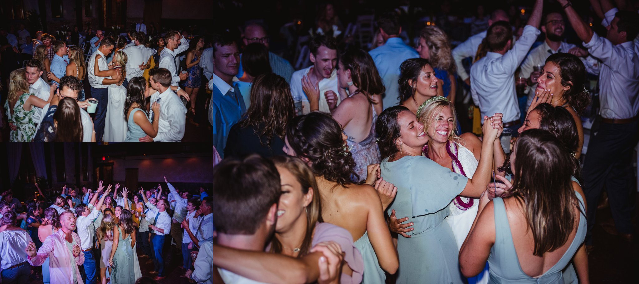 The bride and groom and all their guests dance at their wedding reception in Wilmington, NC, photos by Rose Trail Images.