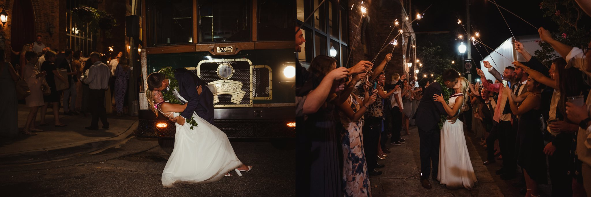 The bride and groom kiss in front of the trolley and in the sparkler exit at their wedding reception in Wilmington, NC, photos by Rose Trail Images.