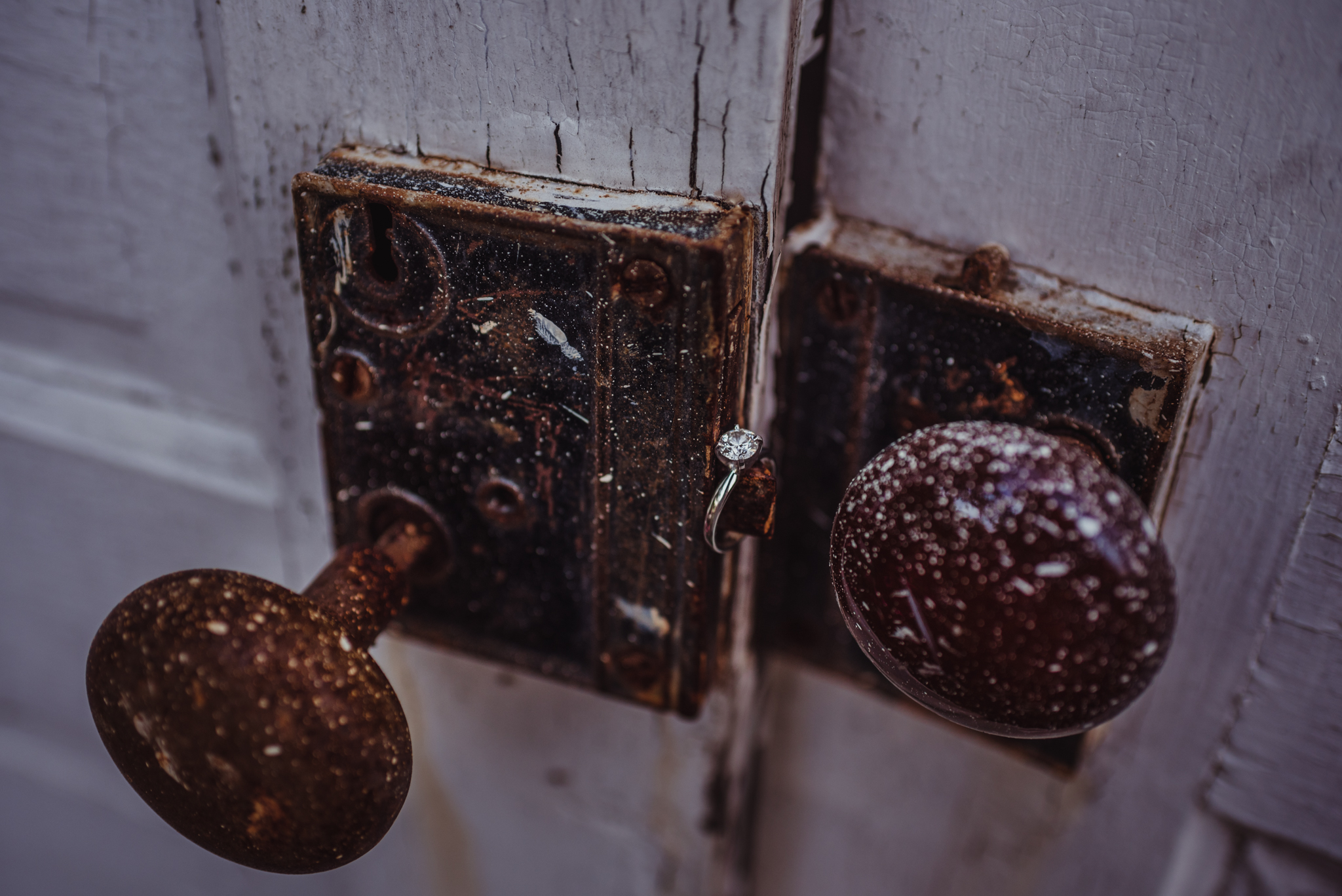 The engagement ring sat on the doors to the barn at the Warren Estate for their engagement pictures with Rose Trail Images.