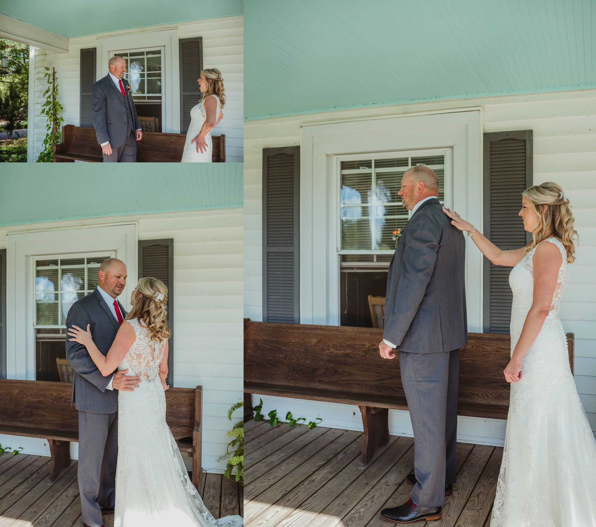 The bride and groom have a first look with Rose Trail Images before their wedding ceremony at Cedar Grove Acres near North Carolina.