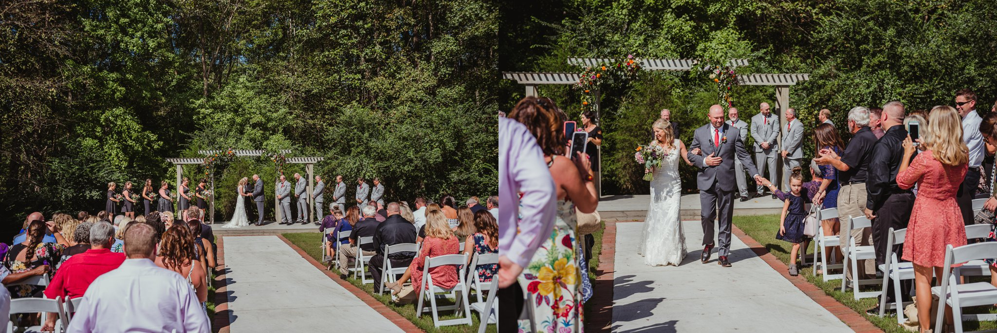 The bride and groom pray and walk down the aisle together after their wedding ceremony at Cedar Grove Acres near North Carolina, pictures by Rose Trail Images.