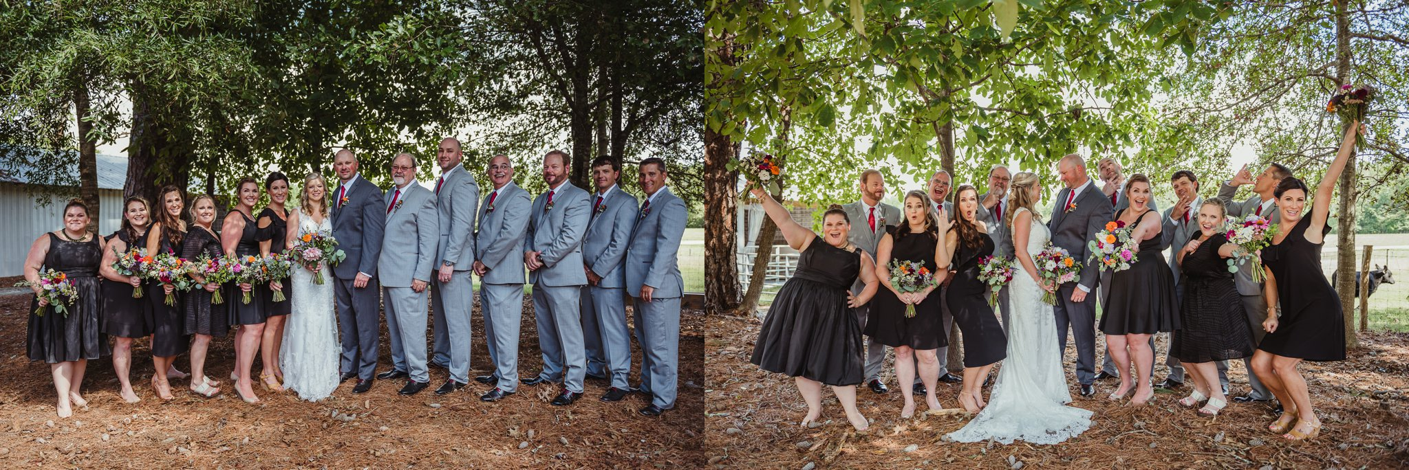 The bride and groom and their bridal party pose for portraits with Rose Trail Images after their wedding ceremony at Cedar Grove Acres near North Carolina.