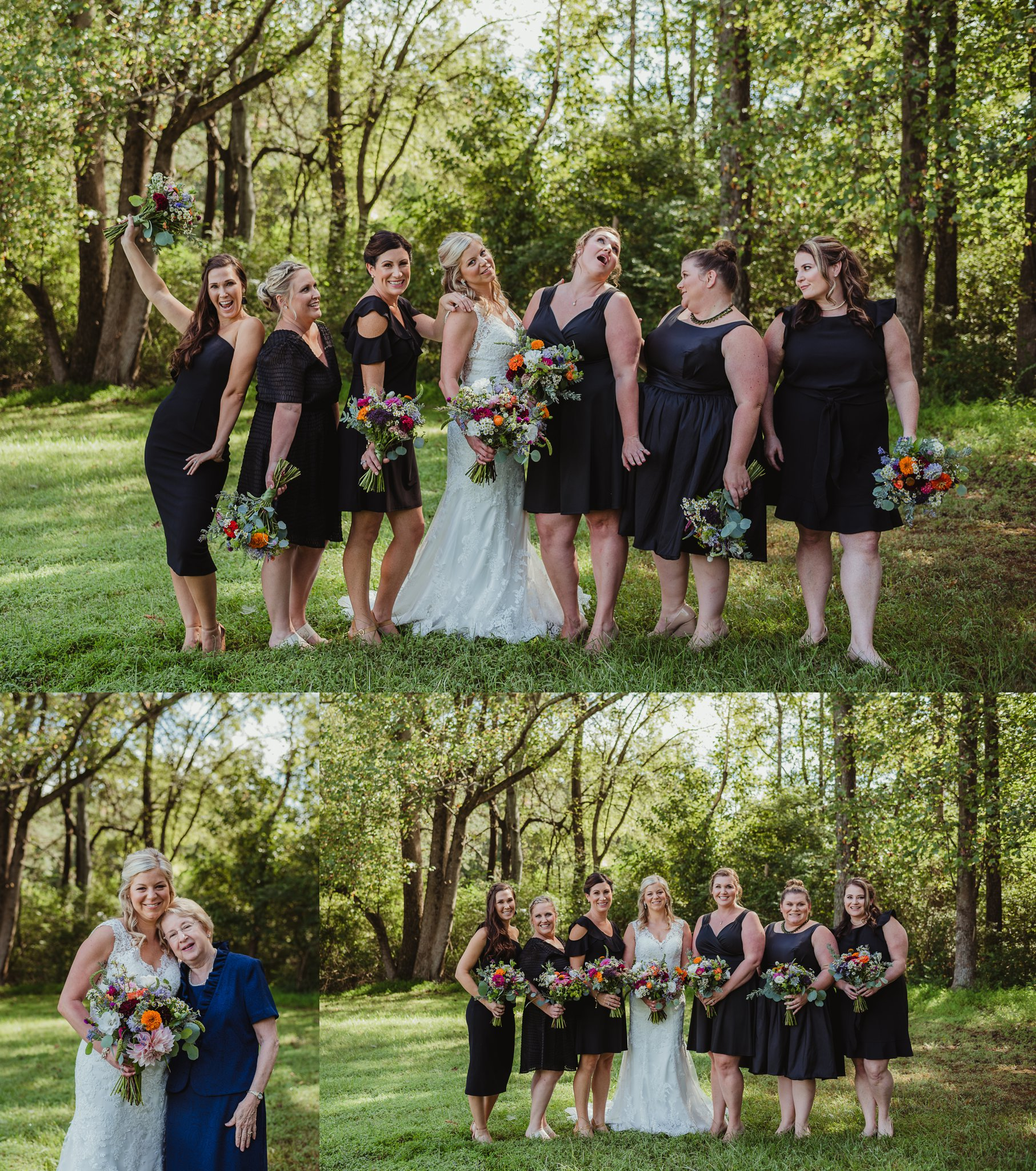 The bride and her bridesmaids pose for portraits with Rose Trail Images after the wedding ceremony at Cedar Grove Acres near North Carolina.
