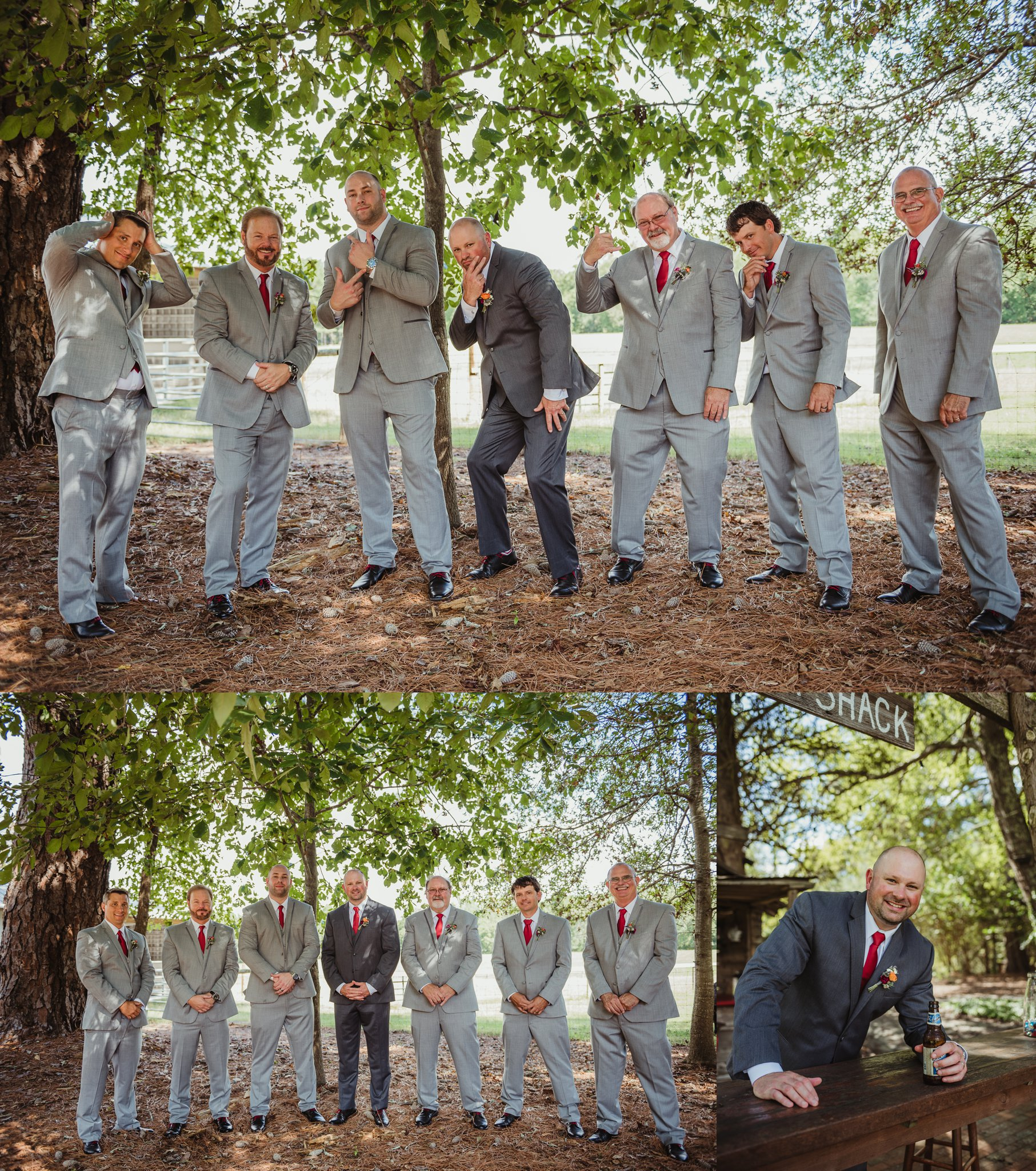 The groom and his groomsmen pose for portraits with Rose Trail Images after his wedding ceremony at Cedar Grove Acres near North Carolina.