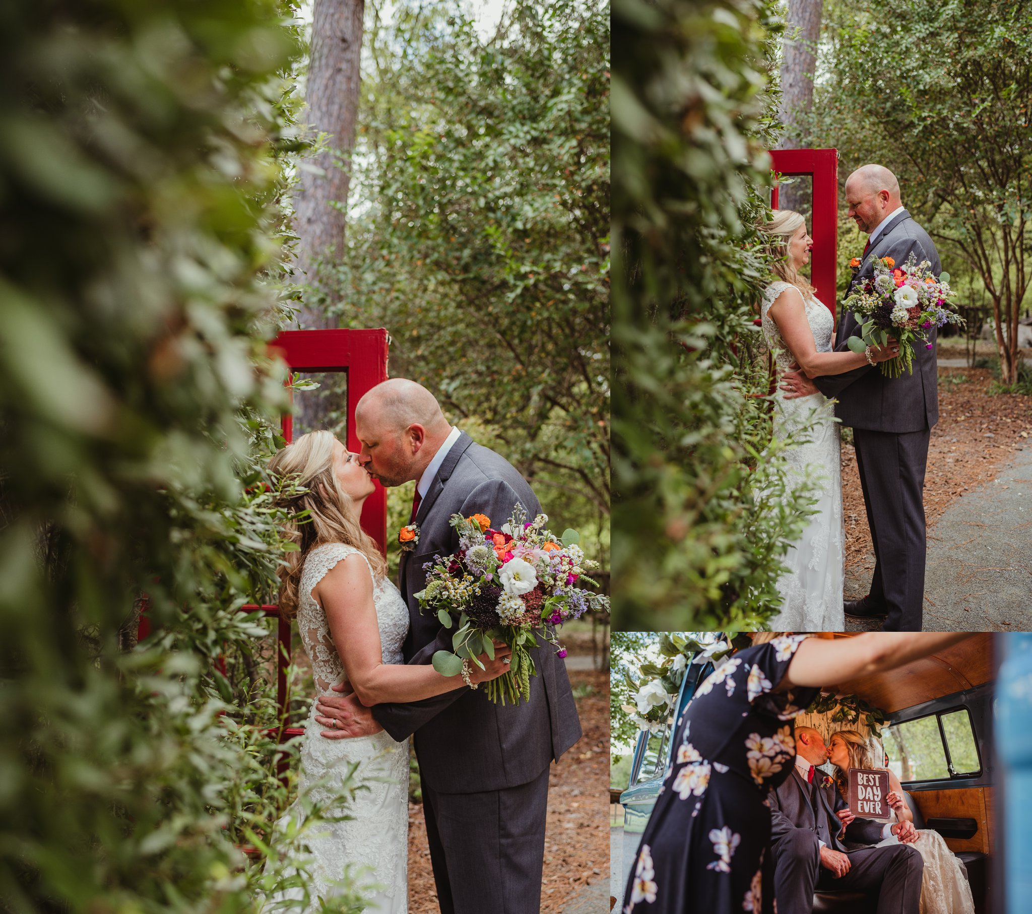 The bride and groom kiss during their portraits with Rose Trail Images after their wedding ceremony at Cedar Grove Acres near North Carolina.