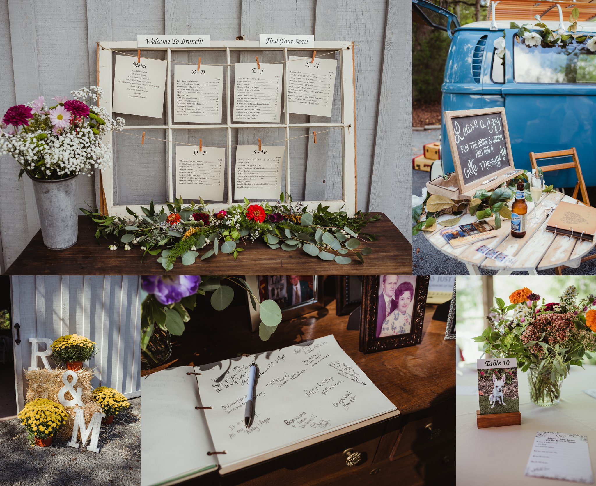 Details of the wedding reception at Cedar Grove Acres near Raleigh include a guestbook, a photo bus, wildflowers, and dog photos as centerpieces, pictures by Rose Trail Images.